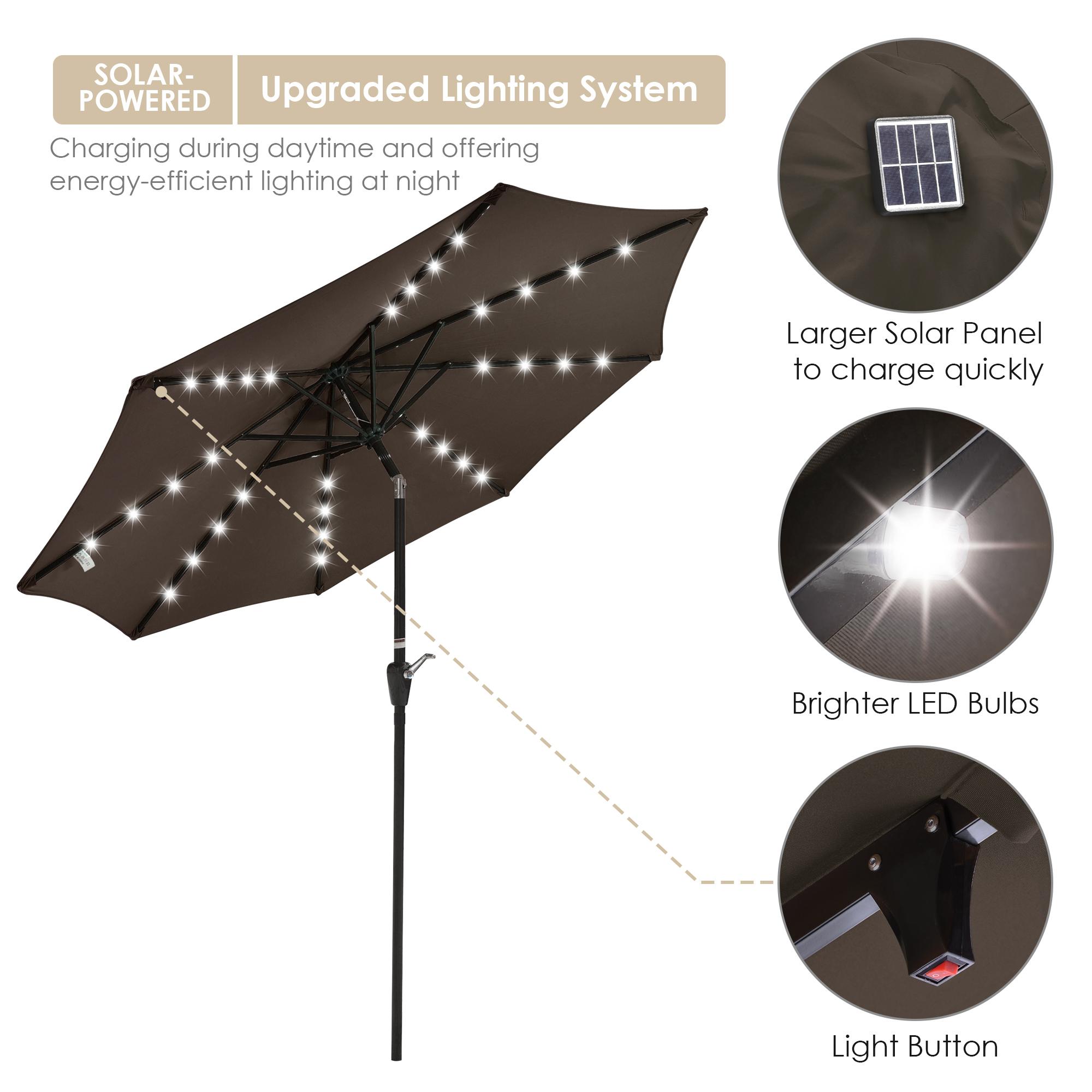 thumbnail 45 - 9' Patio Outdoor Umbrella Solar LED 8 Rib Garden Parasol Yard Deck Table Shade