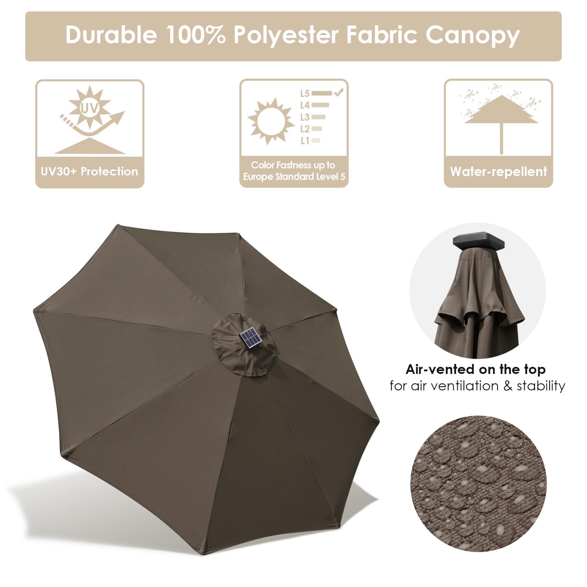 thumbnail 46 - 9' Patio Outdoor Umbrella Solar LED 8 Rib Garden Parasol Yard Deck Table Shade