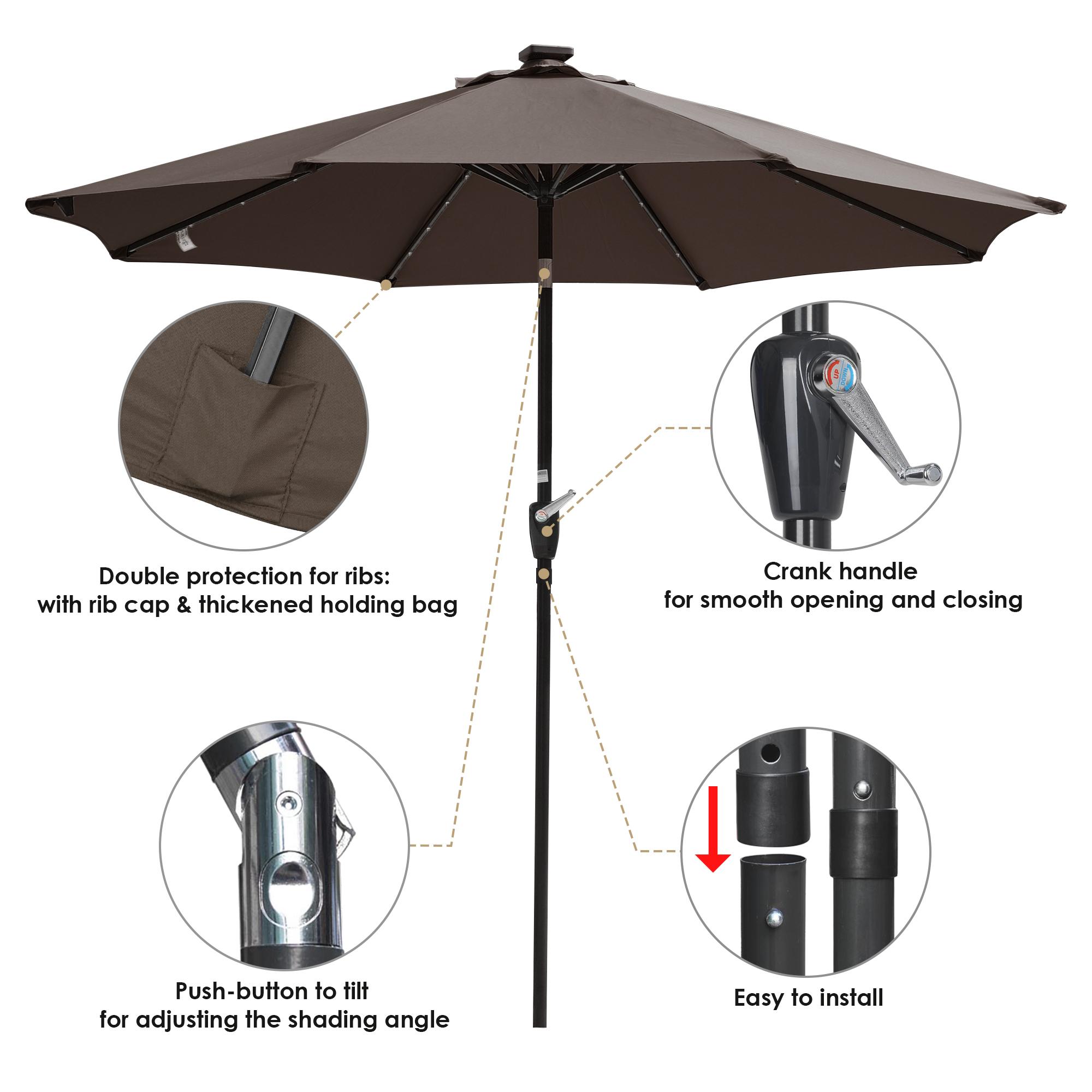 thumbnail 47 - 9' Patio Outdoor Umbrella Solar LED 8 Rib Garden Parasol Yard Deck Table Shade