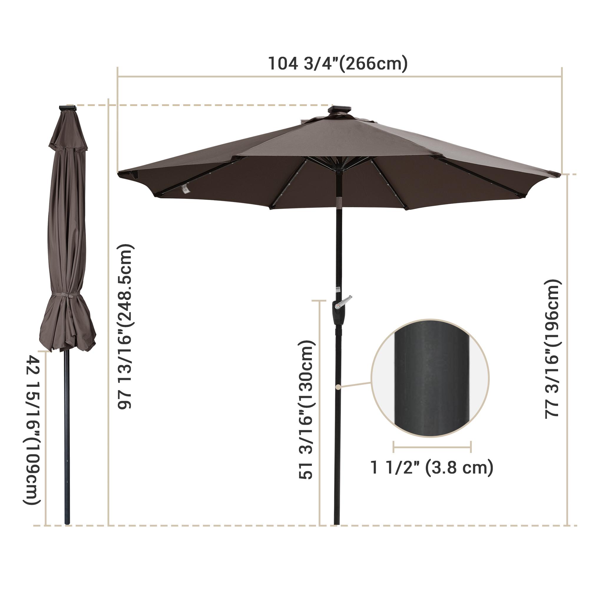 thumbnail 49 - 9' Patio Outdoor Umbrella Solar LED 8 Rib Garden Parasol Yard Deck Table Shade