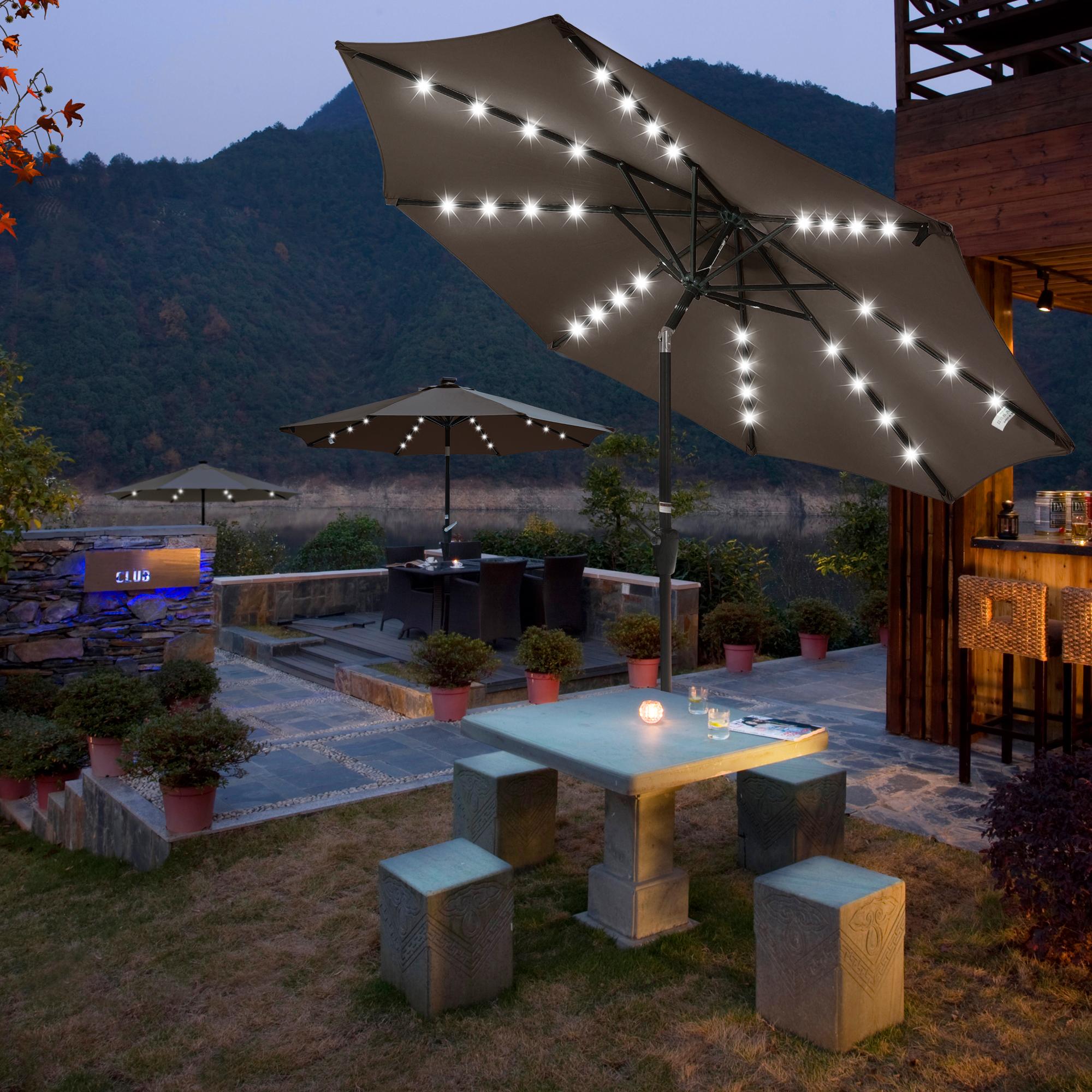 thumbnail 50 - 9' Patio Outdoor Umbrella Solar LED 8 Rib Garden Parasol Yard Deck Table Shade