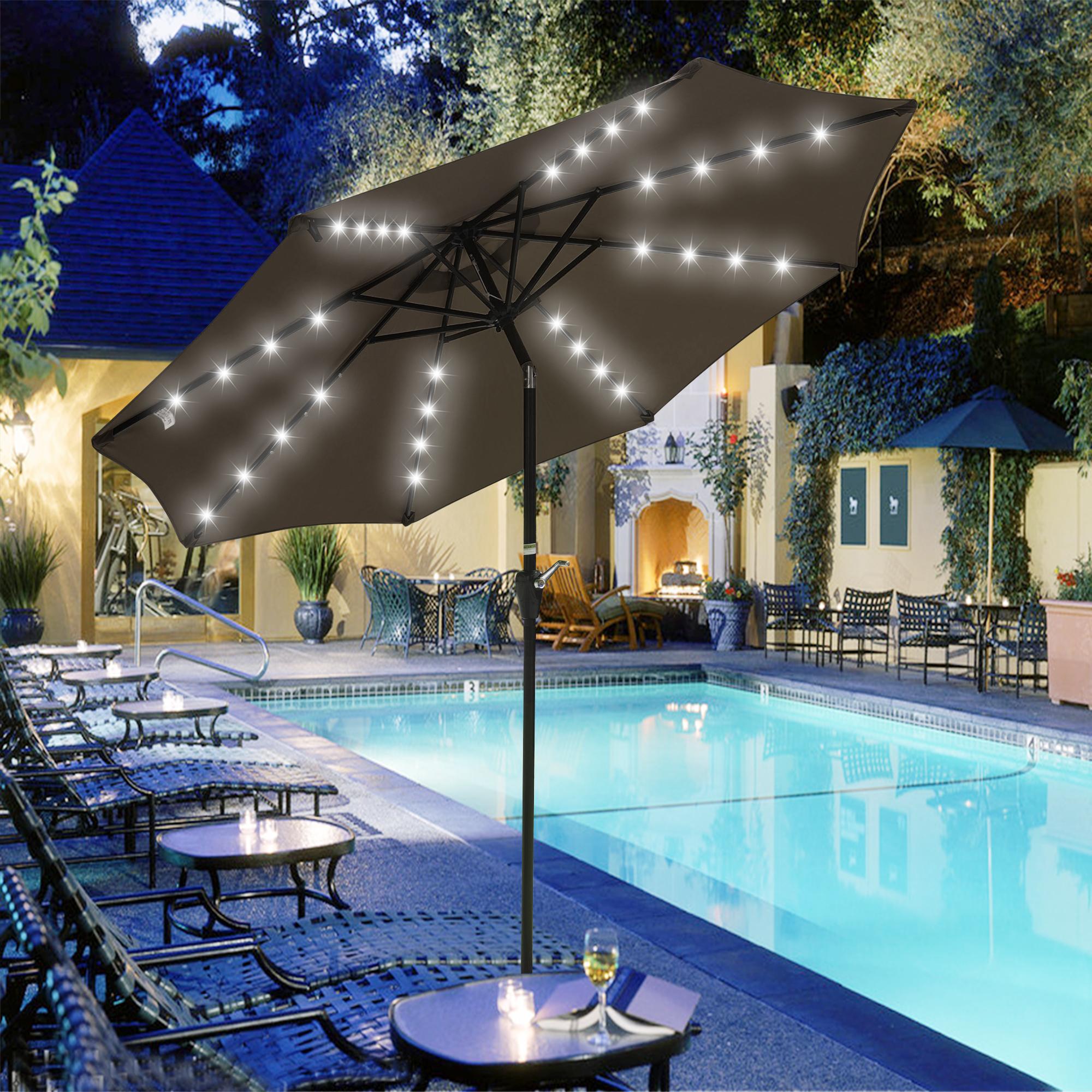 thumbnail 52 - 9' Patio Outdoor Umbrella Solar LED 8 Rib Garden Parasol Yard Deck Table Shade