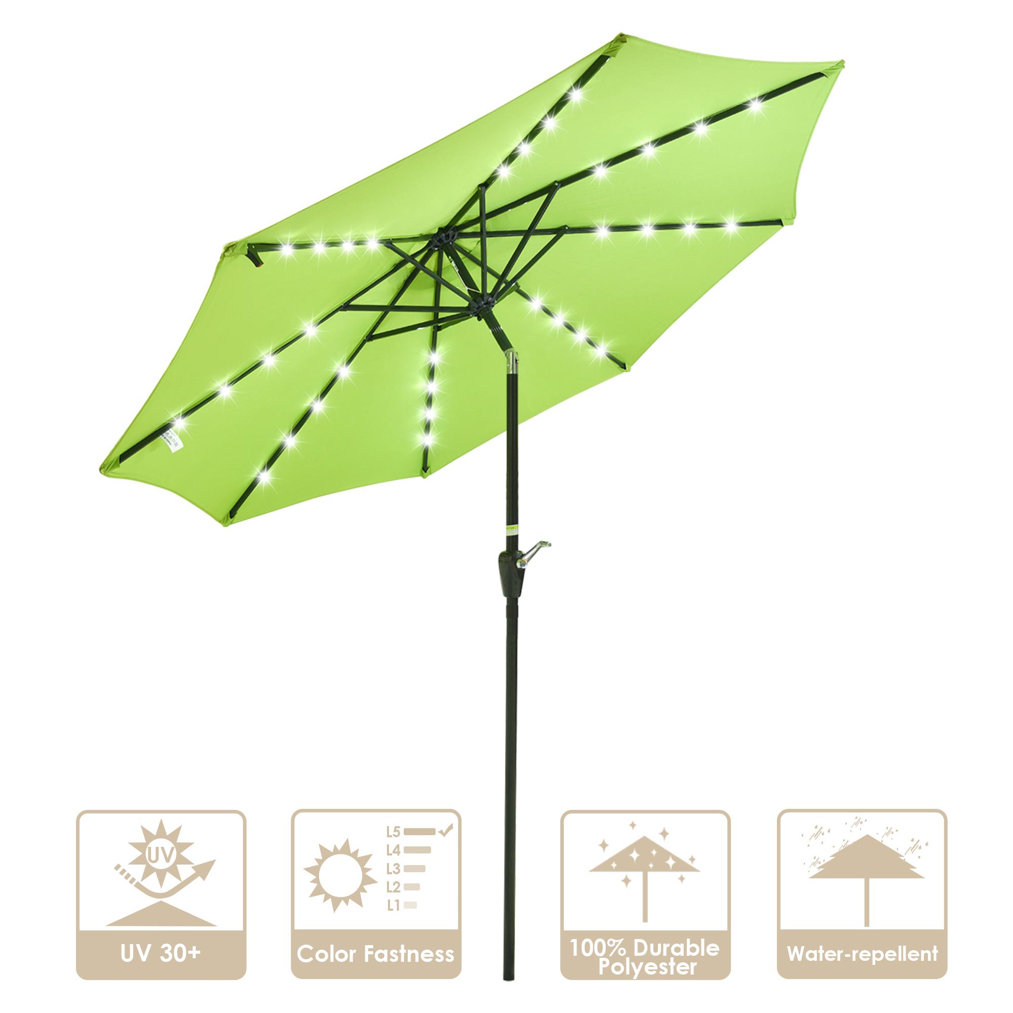 thumbnail 14 - 9' Patio Outdoor Umbrella Solar LED 8 Rib Garden Parasol Yard Deck Table Shade