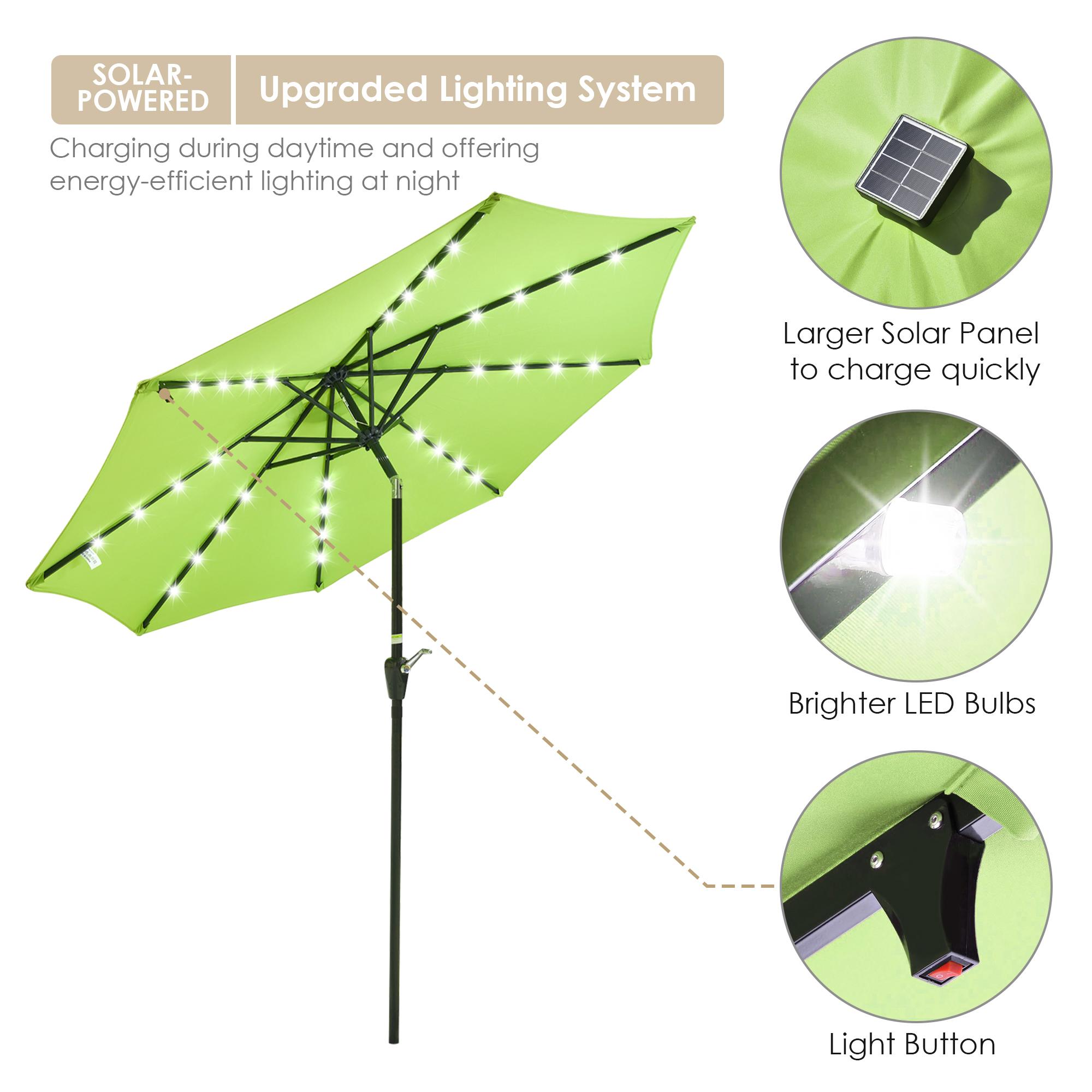 thumbnail 15 - 9' Patio Outdoor Umbrella Solar LED 8 Rib Garden Parasol Yard Deck Table Shade