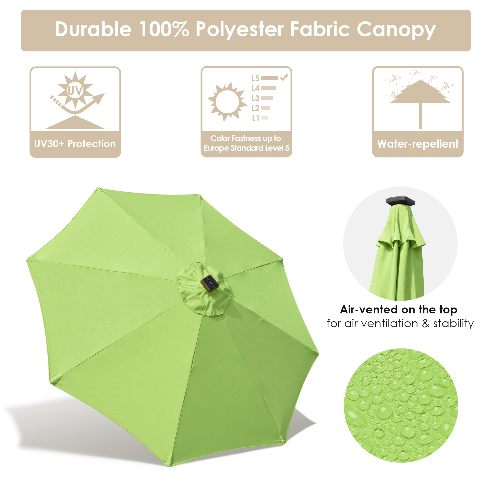 thumbnail 16 - 9' Patio Outdoor Umbrella Solar LED 8 Rib Garden Parasol Yard Deck Table Shade