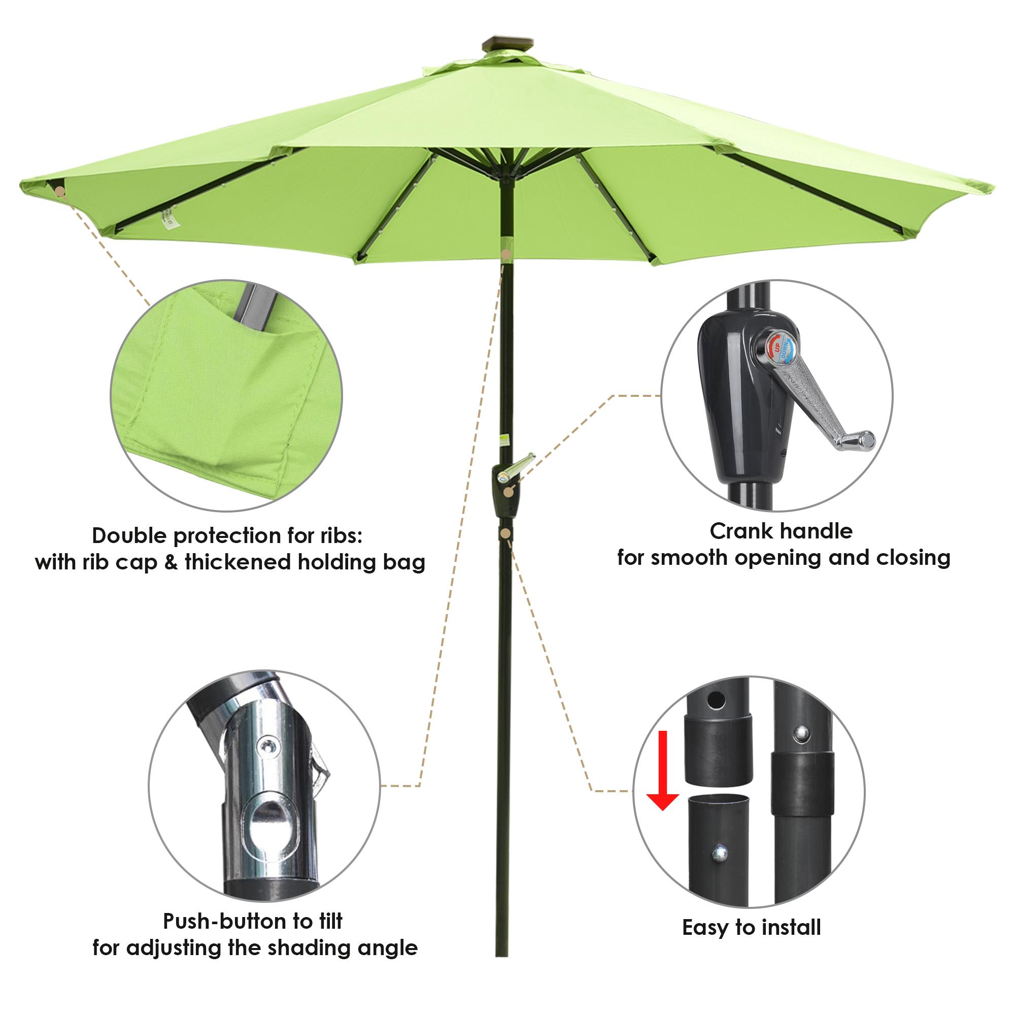 thumbnail 17 - 9' Patio Outdoor Umbrella Solar LED 8 Rib Garden Parasol Yard Deck Table Shade