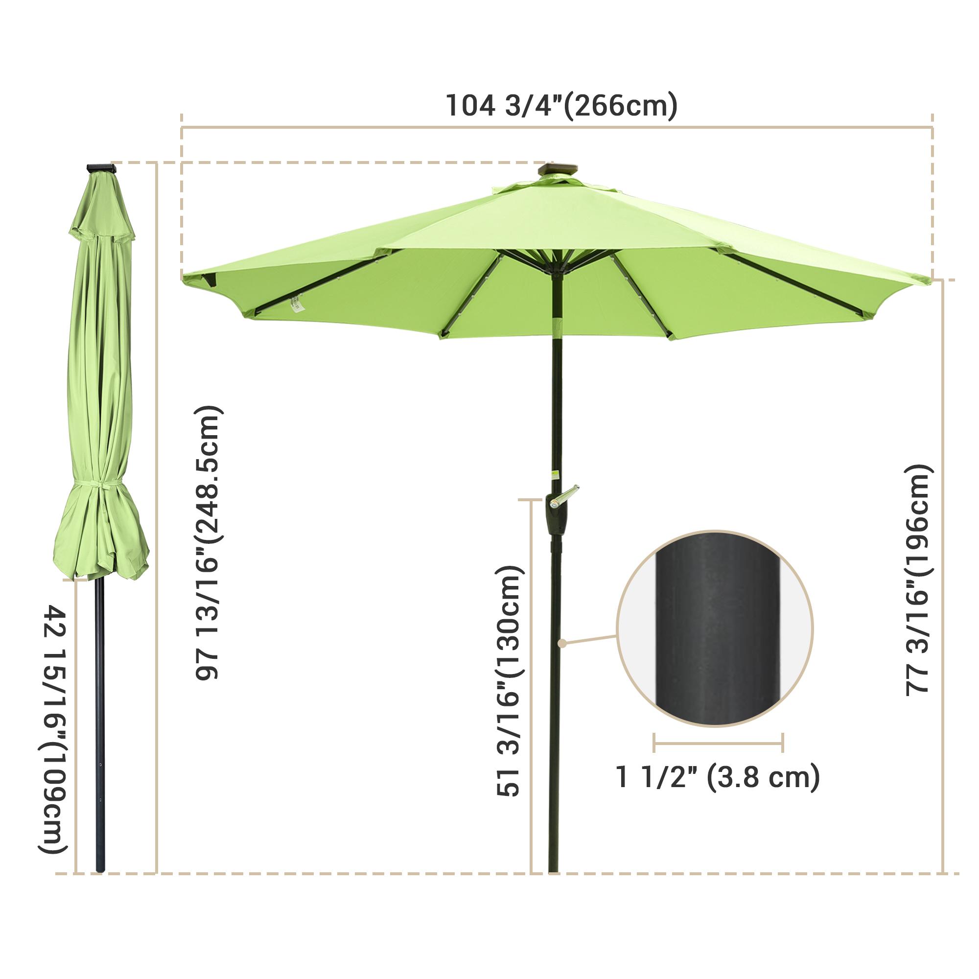 thumbnail 19 - 9' Patio Outdoor Umbrella Solar LED 8 Rib Garden Parasol Yard Deck Table Shade