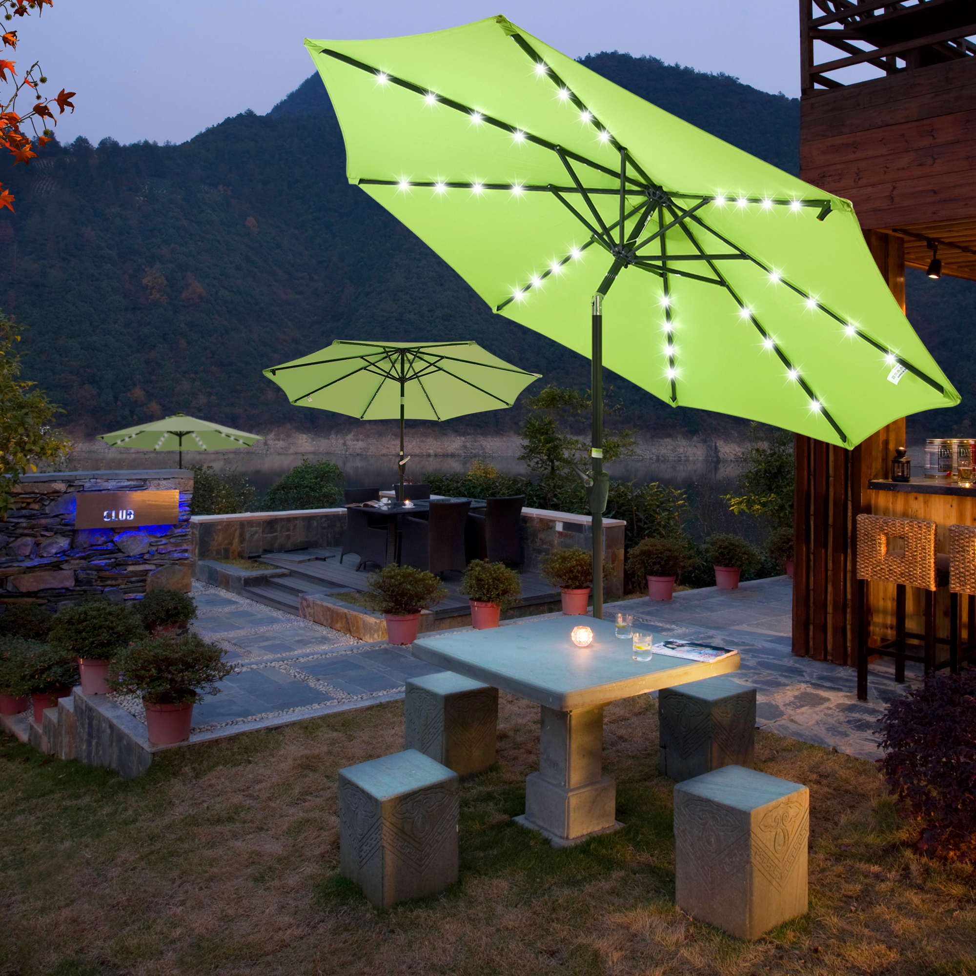 thumbnail 13 - 9' Patio Outdoor Umbrella Solar LED 8 Rib Garden Parasol Yard Deck Table Shade