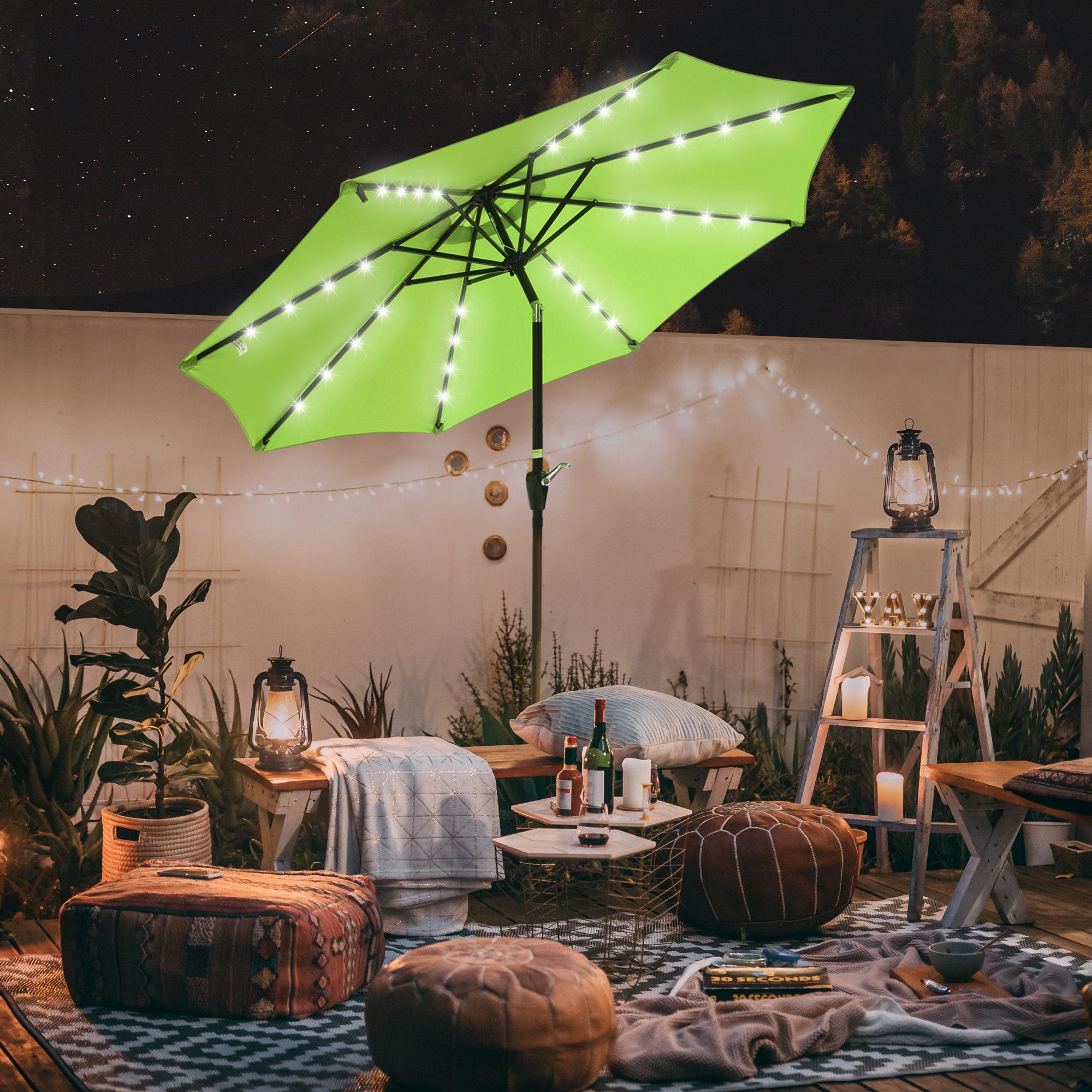 thumbnail 20 - 9' Patio Outdoor Umbrella Solar LED 8 Rib Garden Parasol Yard Deck Table Shade