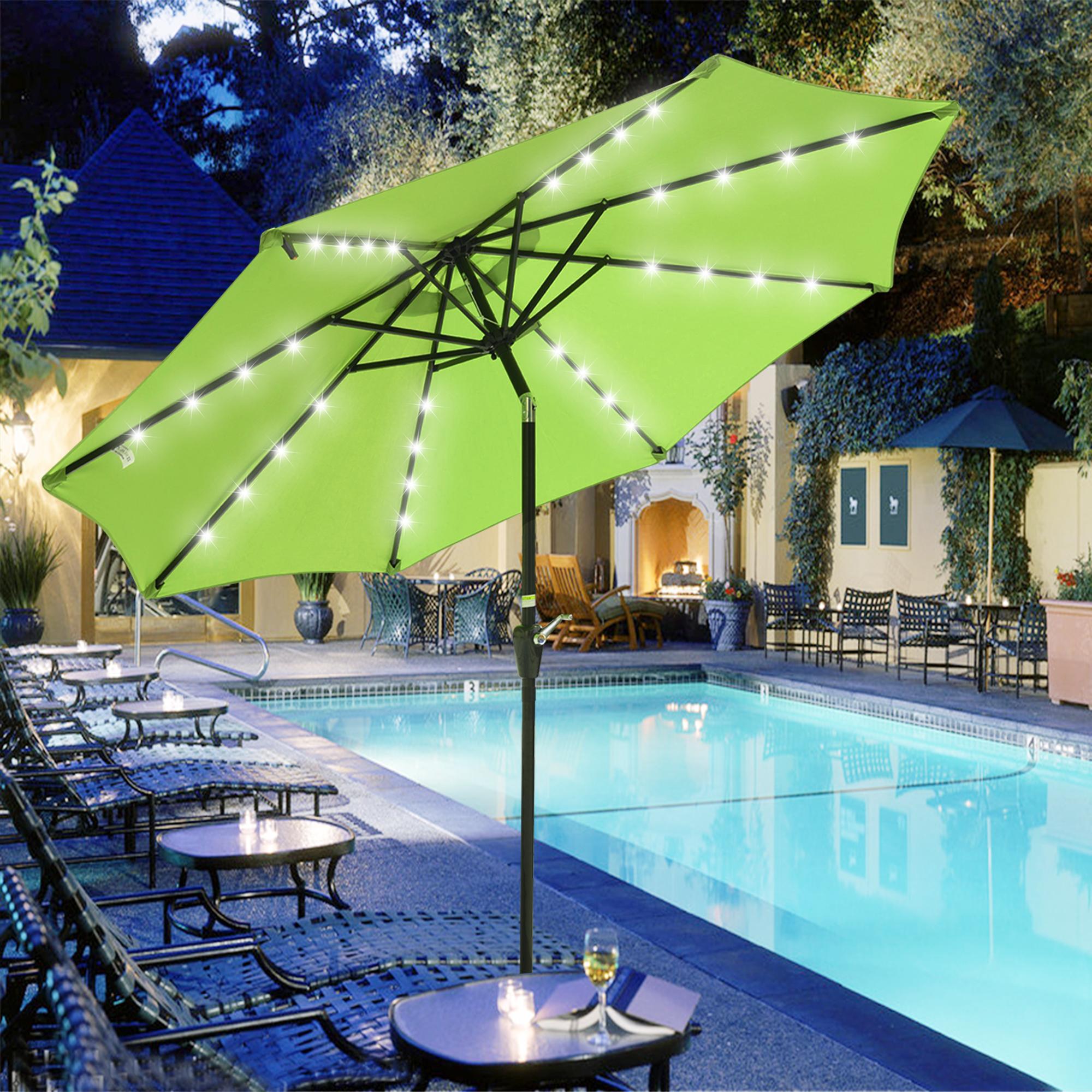 thumbnail 21 - 9' Patio Outdoor Umbrella Solar LED 8 Rib Garden Parasol Yard Deck Table Shade