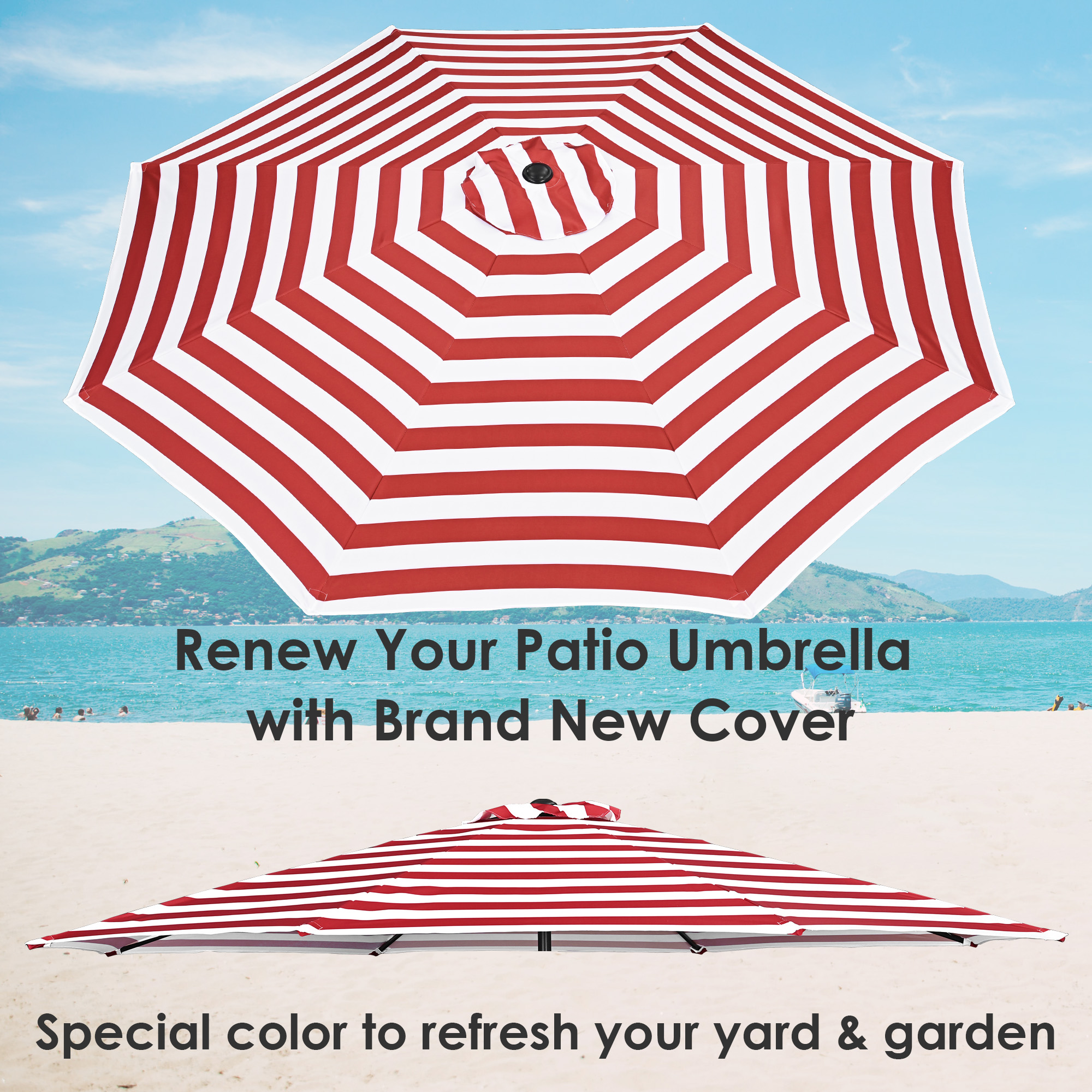 thumbnail 91 - 8'/9'/10'/13' Umbrella Replacement Canopy 8 Rib Outdoor Patio Top Cover Only Opt