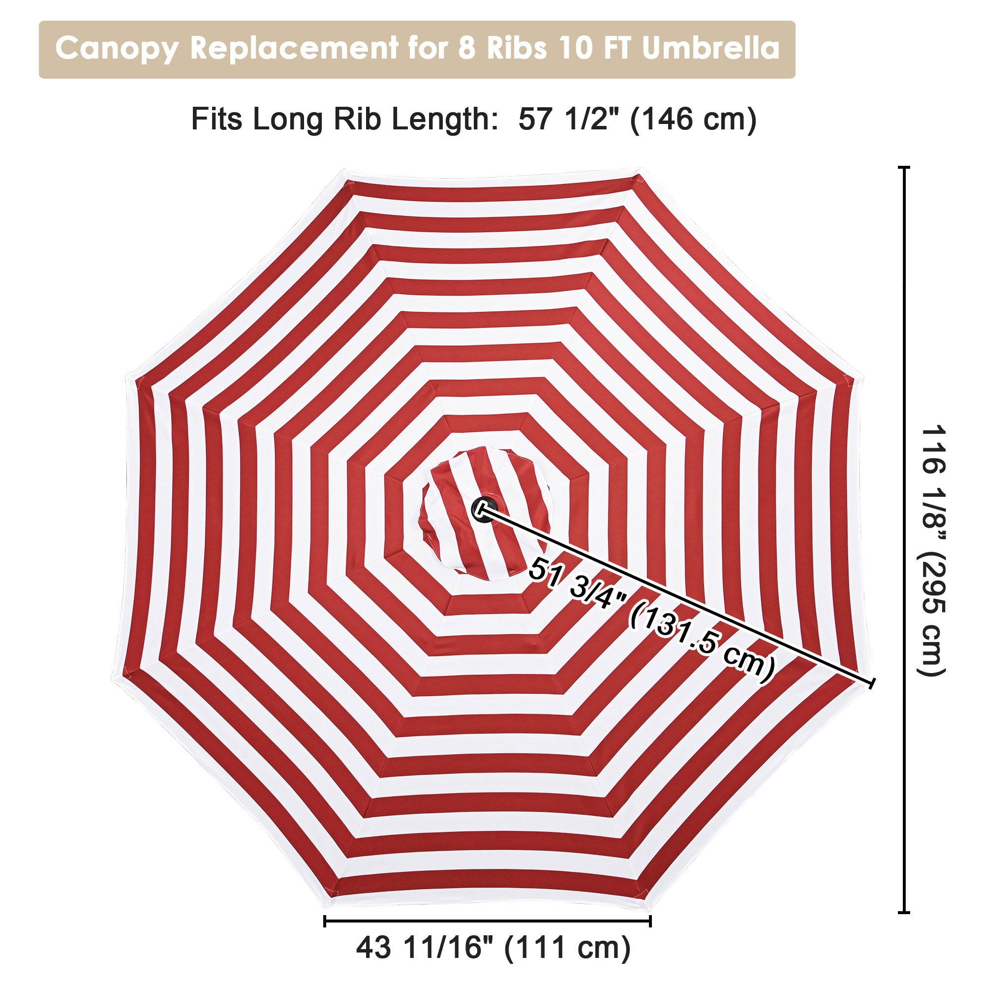 thumbnail 99 - 8'/9'/10'/13' Umbrella Replacement Canopy 8 Rib Outdoor Patio Top Cover Only Opt