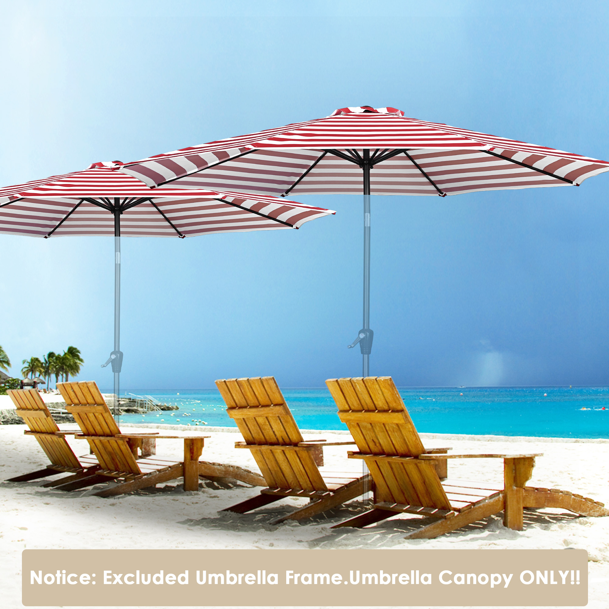 thumbnail 100 - 8'/9'/10'/13' Umbrella Replacement Canopy 8 Rib Outdoor Patio Top Cover Only Opt