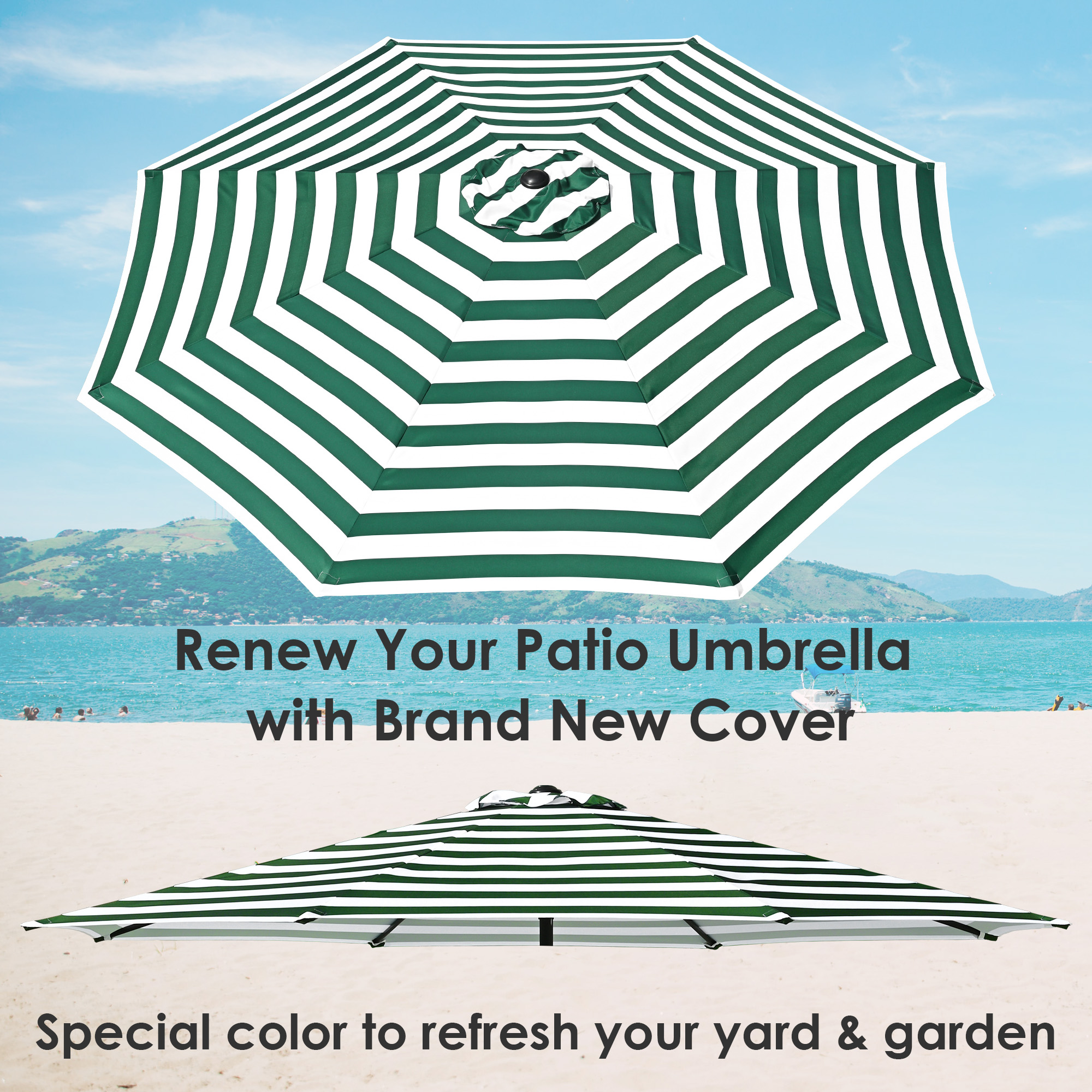 thumbnail 46 - 8'/9'/10'/13' Umbrella Replacement Canopy 8 Rib Outdoor Patio Top Cover Only Opt