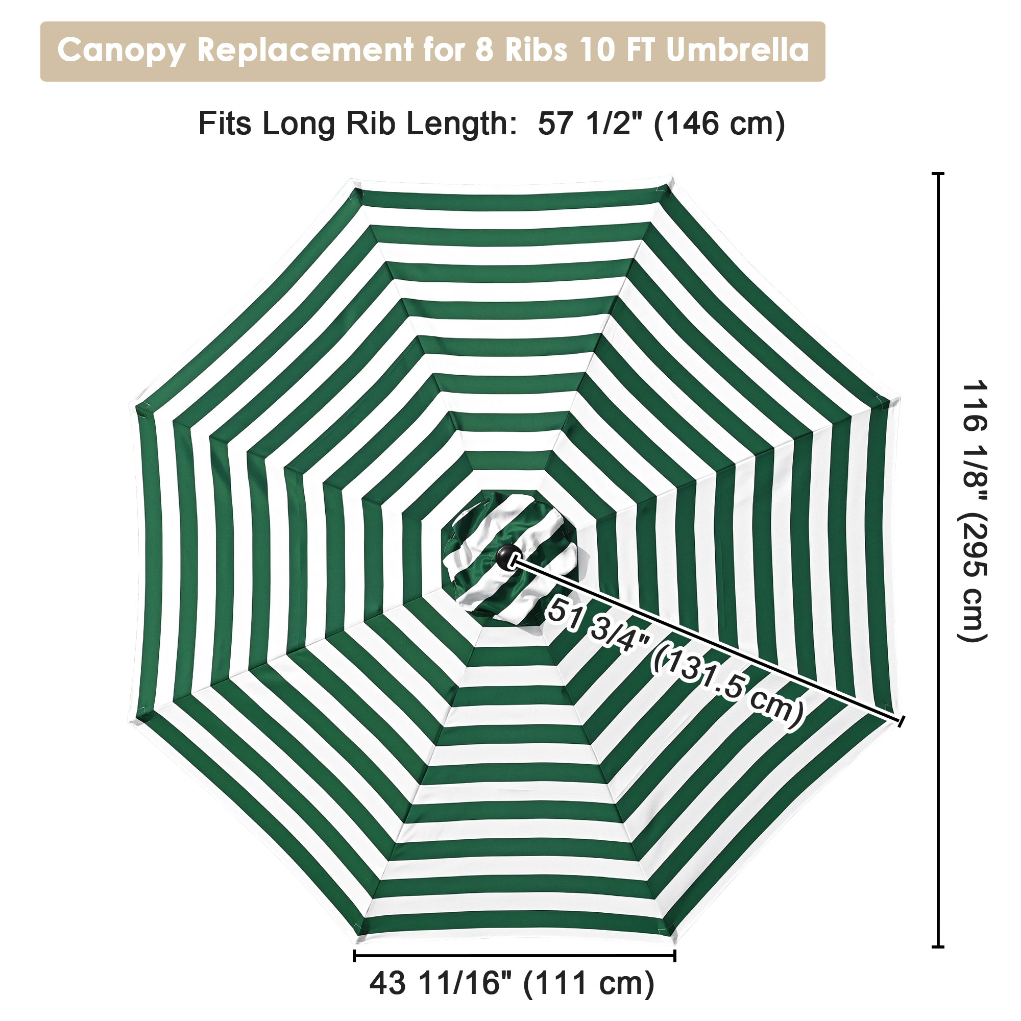 thumbnail 54 - 8'/9'/10'/13' Umbrella Replacement Canopy 8 Rib Outdoor Patio Top Cover Only Opt
