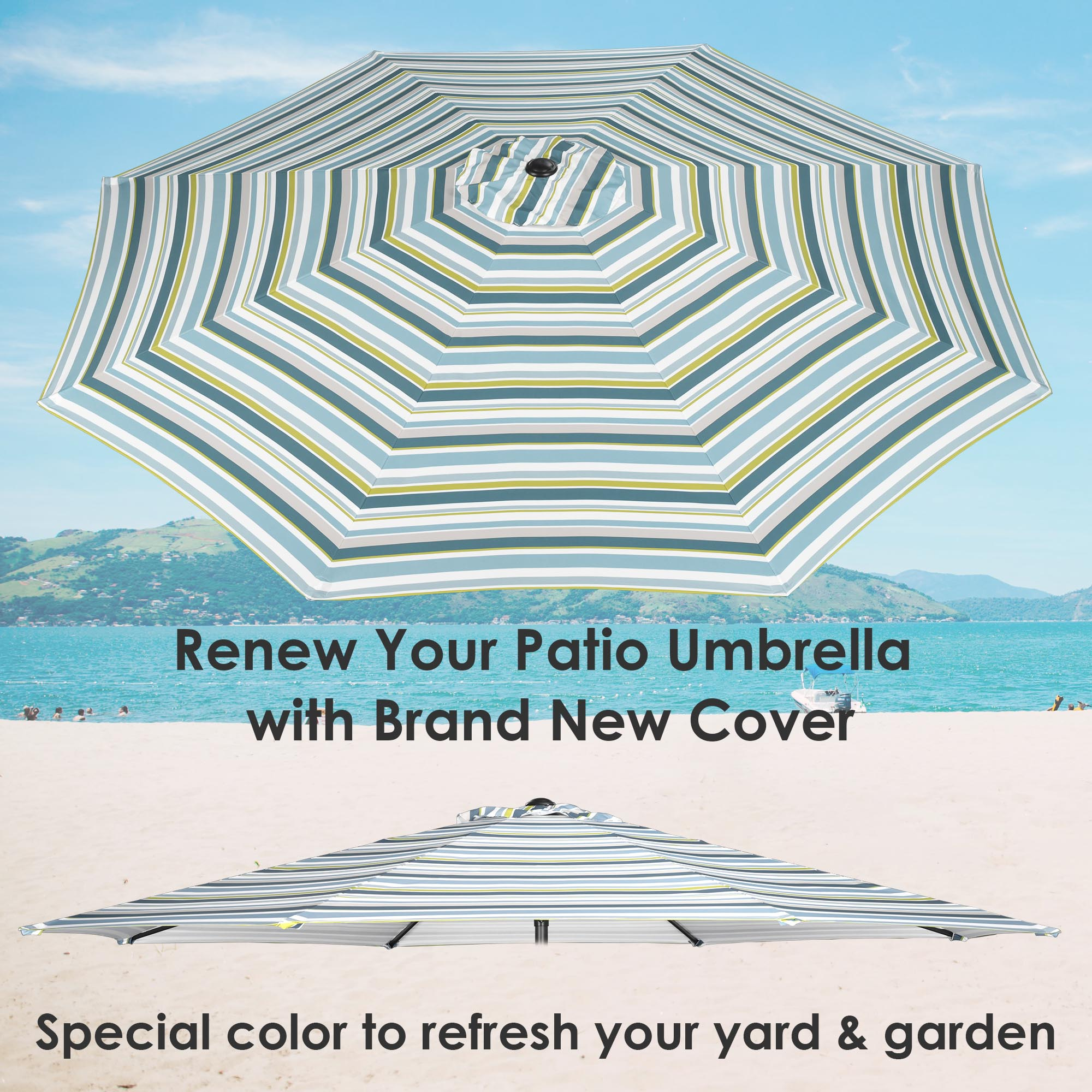 thumbnail 103 - 8'/9'/10'/13' Umbrella Replacement Canopy 8 Rib Outdoor Patio Top Cover Only Opt