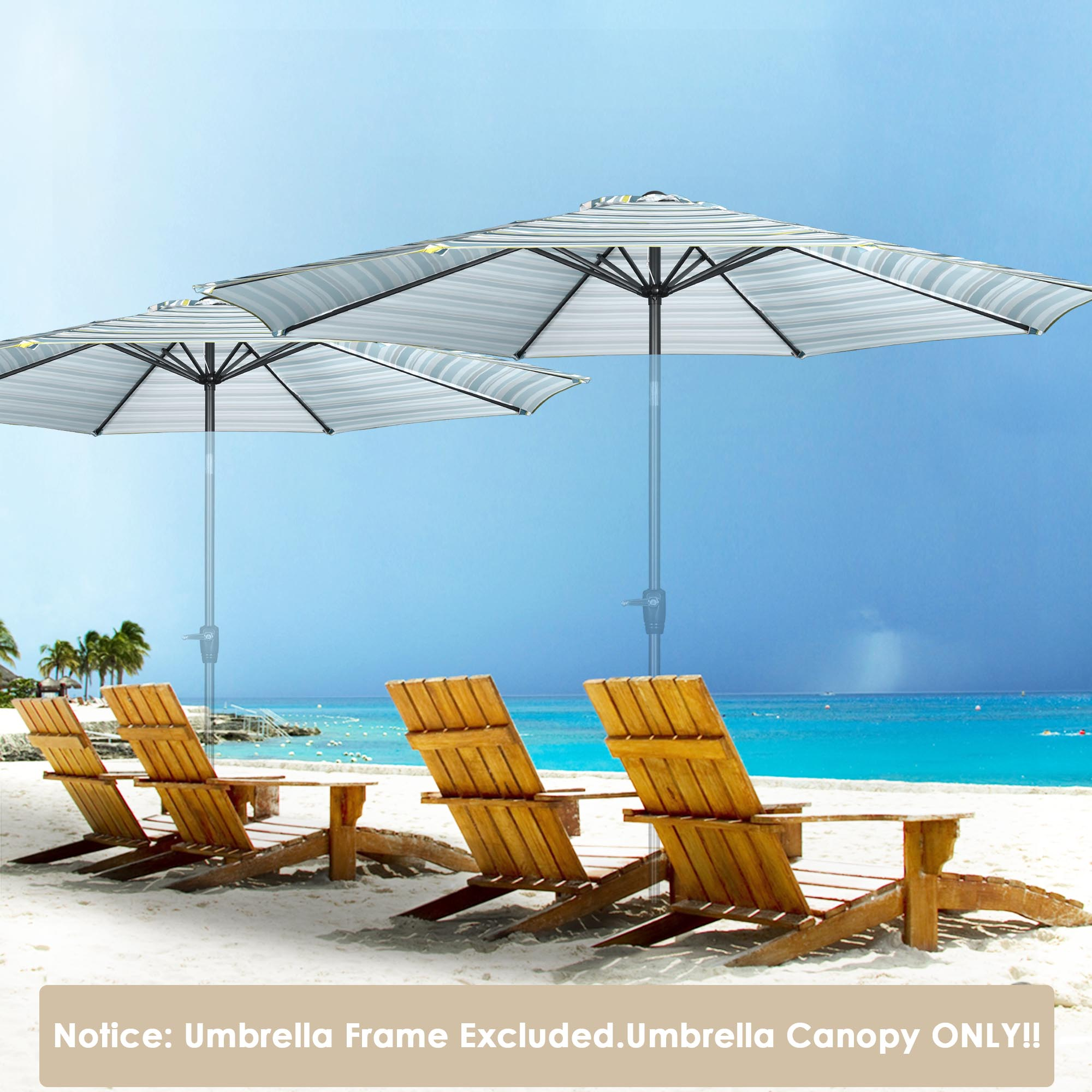 thumbnail 112 - 8'/9'/10'/13' Umbrella Replacement Canopy 8 Rib Outdoor Patio Top Cover Only Opt