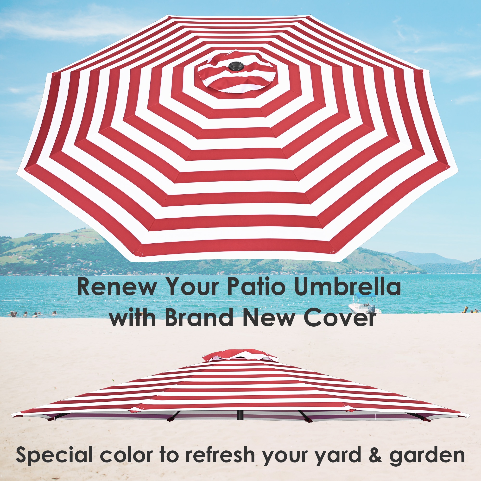 thumbnail 402 - 8'/9'/10'/13' Umbrella Replacement Canopy 8 Rib Outdoor Patio Top Cover Only Opt