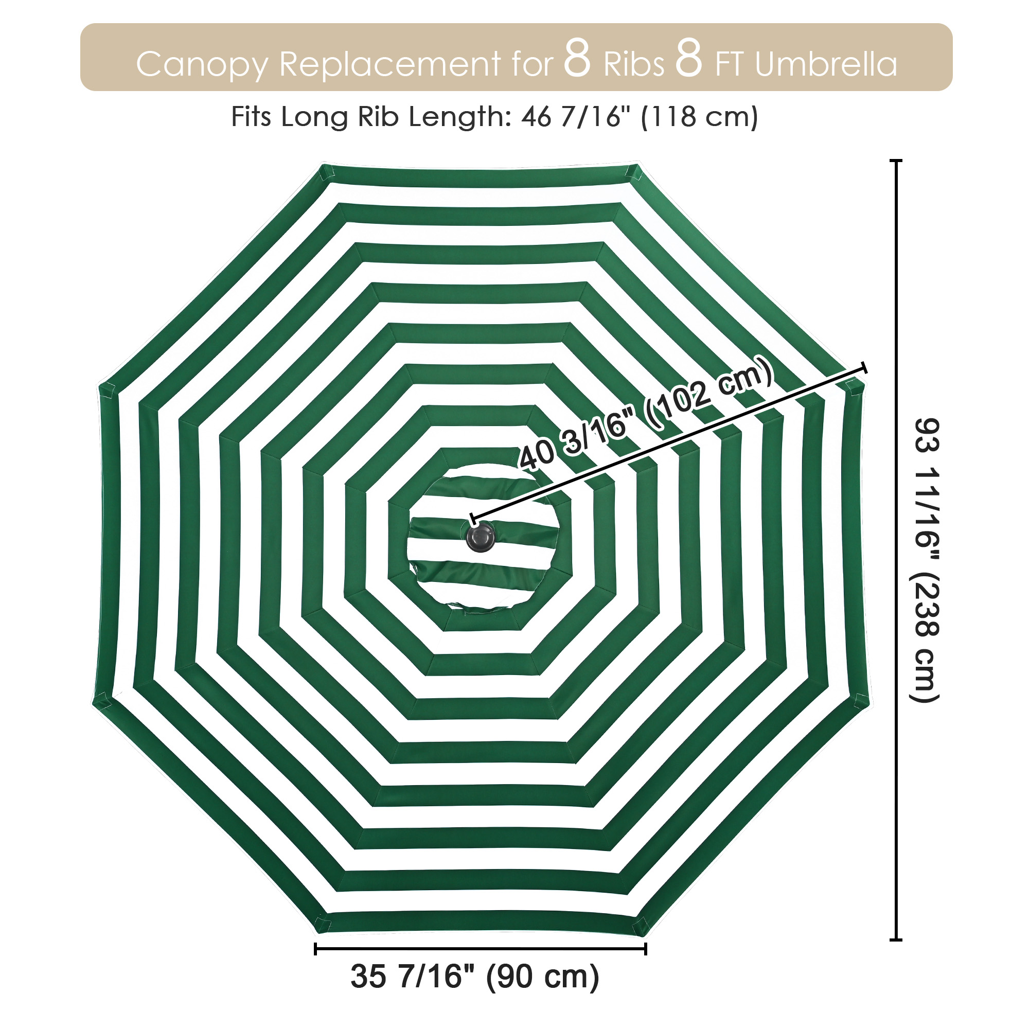 thumbnail 372 - 8'/9'/10'/13' Umbrella Replacement Canopy 8 Rib Outdoor Patio Top Cover Only Opt