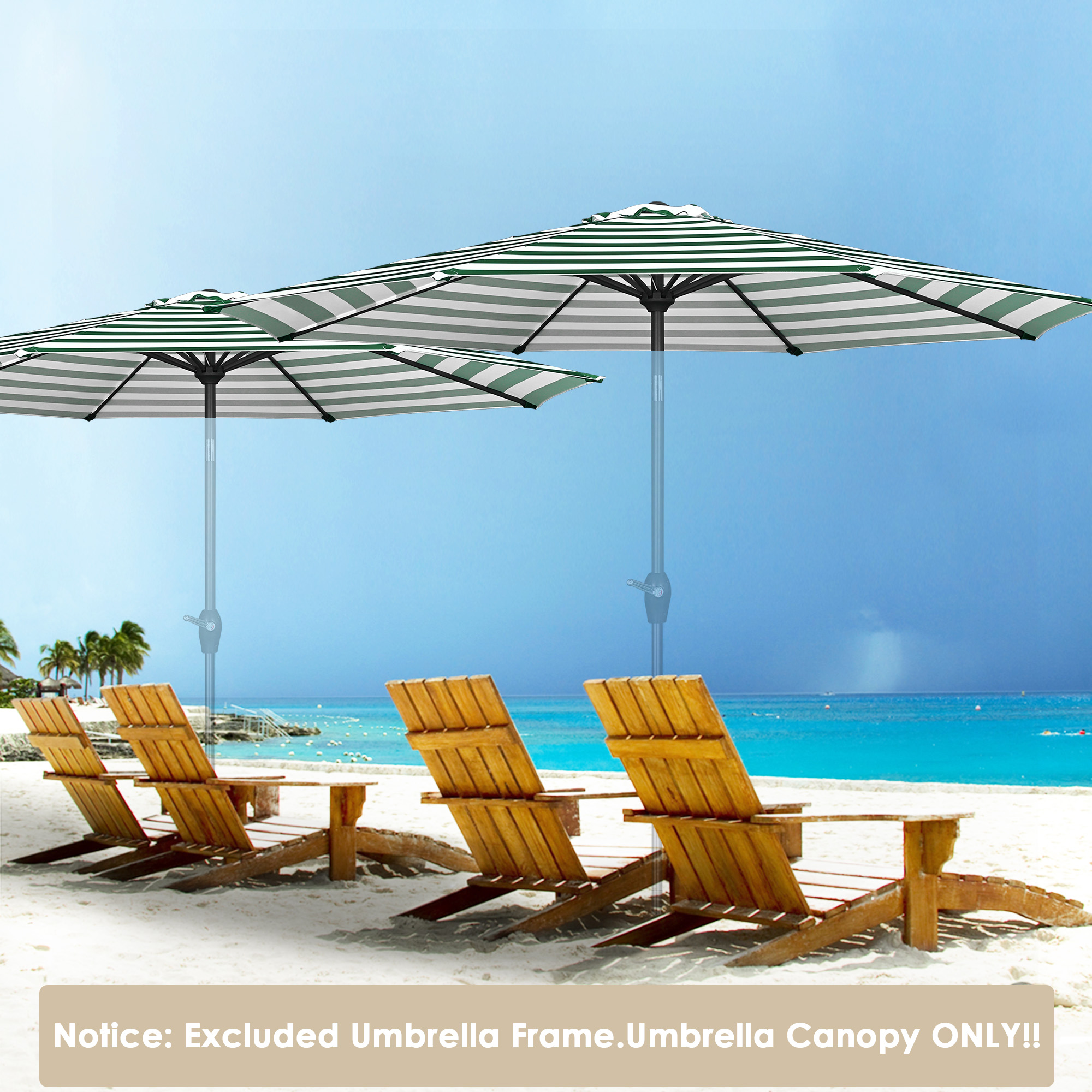 thumbnail 375 - 8'/9'/10'/13' Umbrella Replacement Canopy 8 Rib Outdoor Patio Top Cover Only Opt
