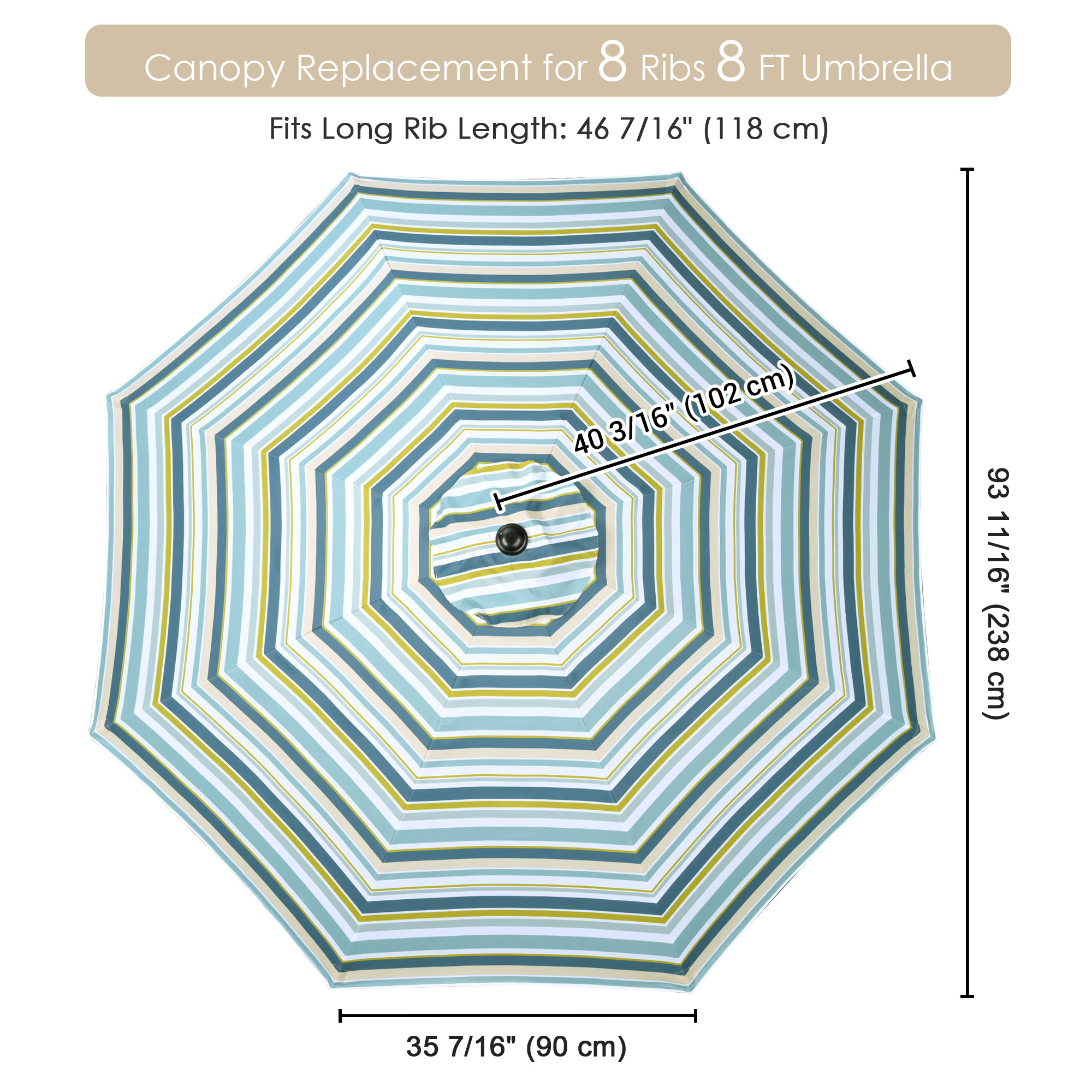 thumbnail 423 - 8'/9'/10'/13' Umbrella Replacement Canopy 8 Rib Outdoor Patio Top Cover Only Opt