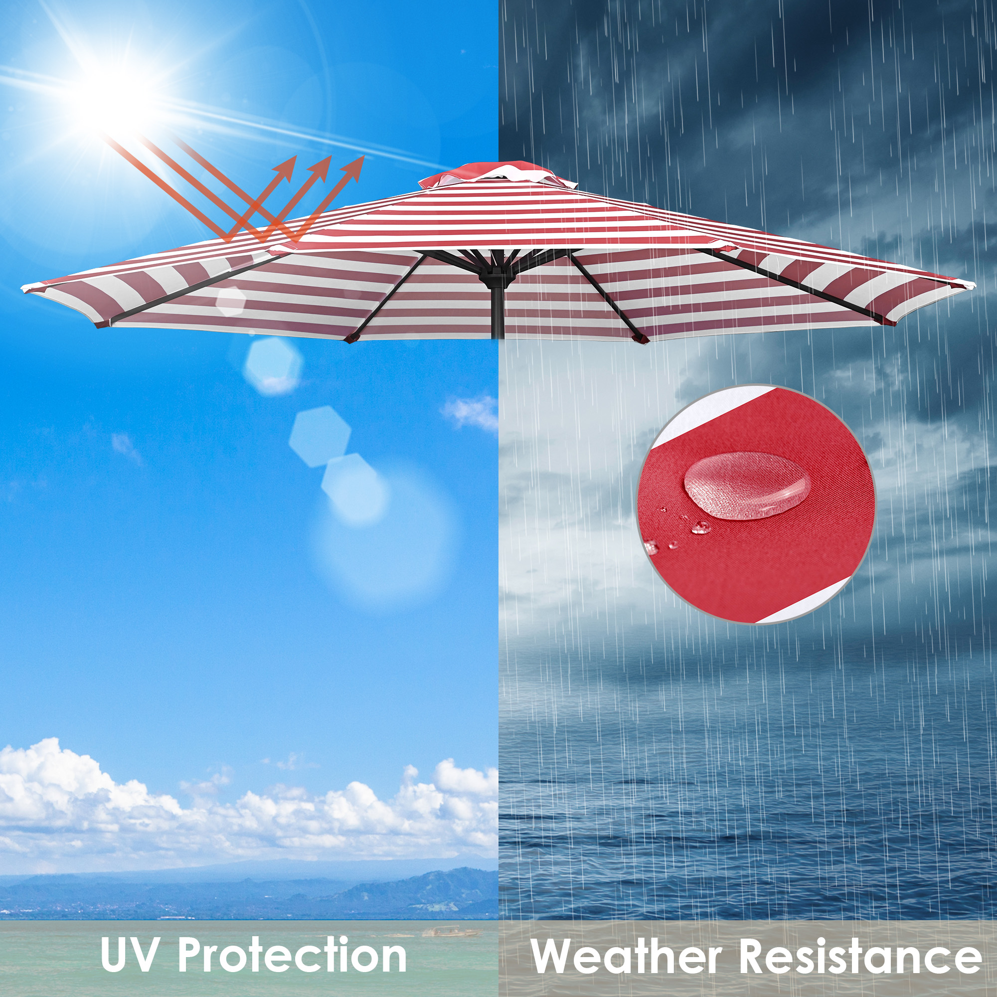 thumbnail 509 - 8'/9'/10'/13' Umbrella Replacement Canopy 8 Rib Outdoor Patio Top Cover Only Opt