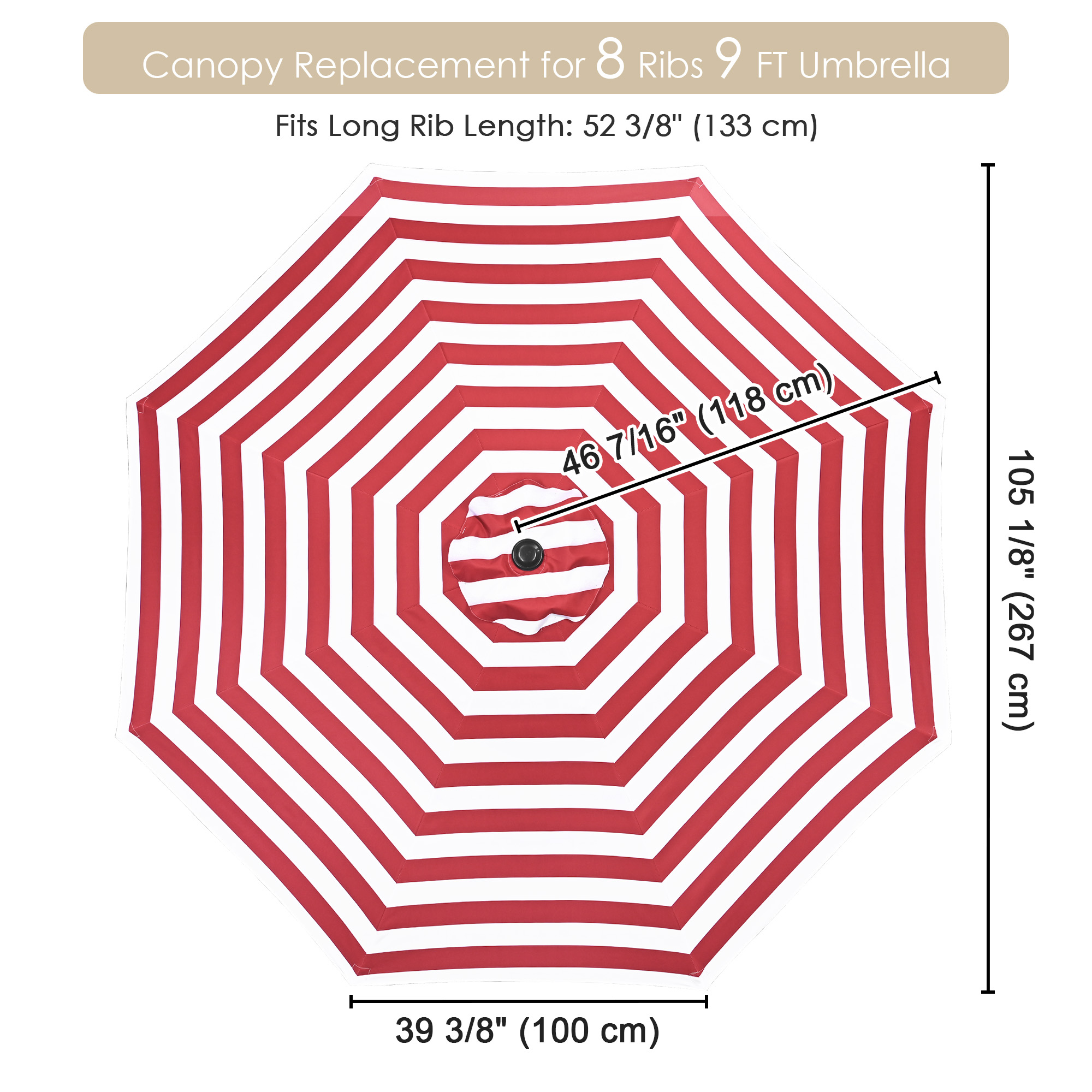 thumbnail 515 - 8'/9'/10'/13' Umbrella Replacement Canopy 8 Rib Outdoor Patio Top Cover Only Opt