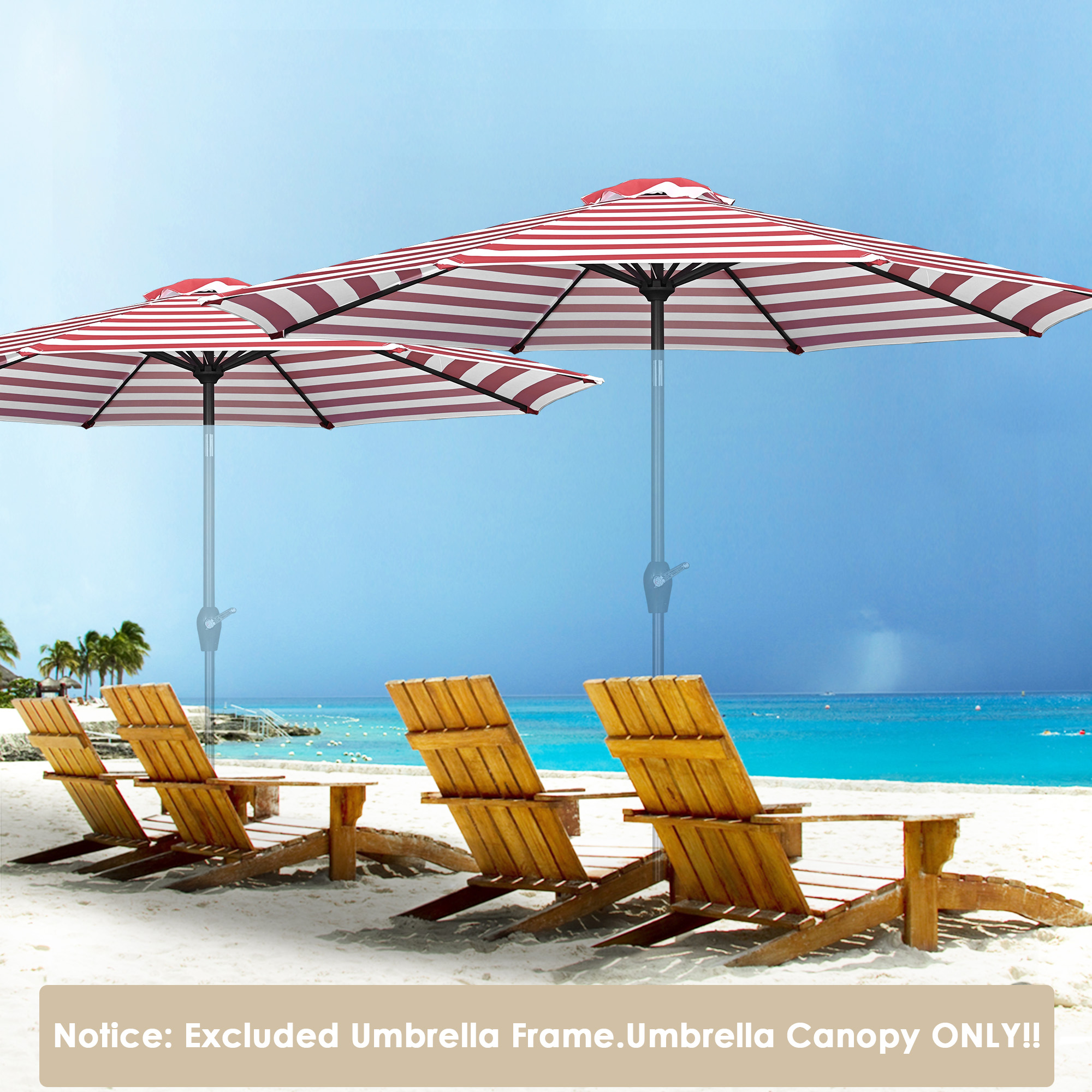 thumbnail 518 - 8'/9'/10'/13' Umbrella Replacement Canopy 8 Rib Outdoor Patio Top Cover Only Opt