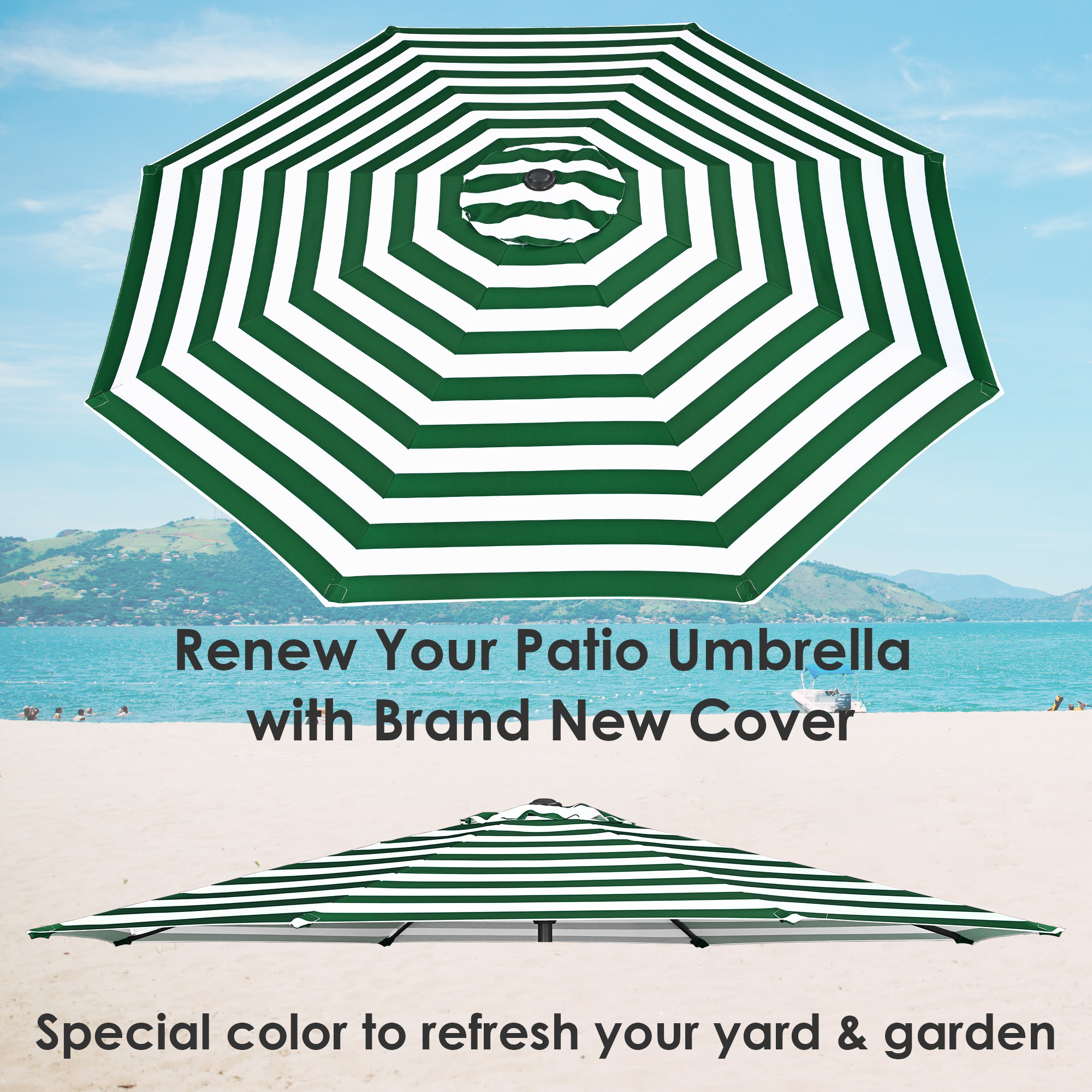 thumbnail 460 - 8'/9'/10'/13' Umbrella Replacement Canopy 8 Rib Outdoor Patio Top Cover Only Opt