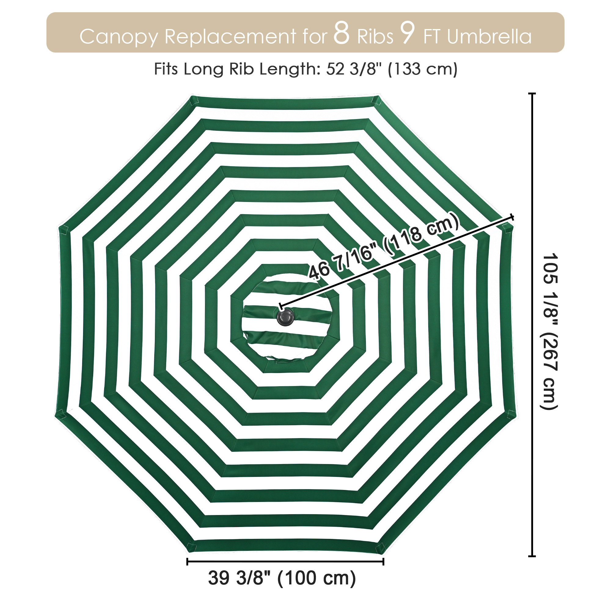 thumbnail 467 - 8'/9'/10'/13' Umbrella Replacement Canopy 8 Rib Outdoor Patio Top Cover Only Opt