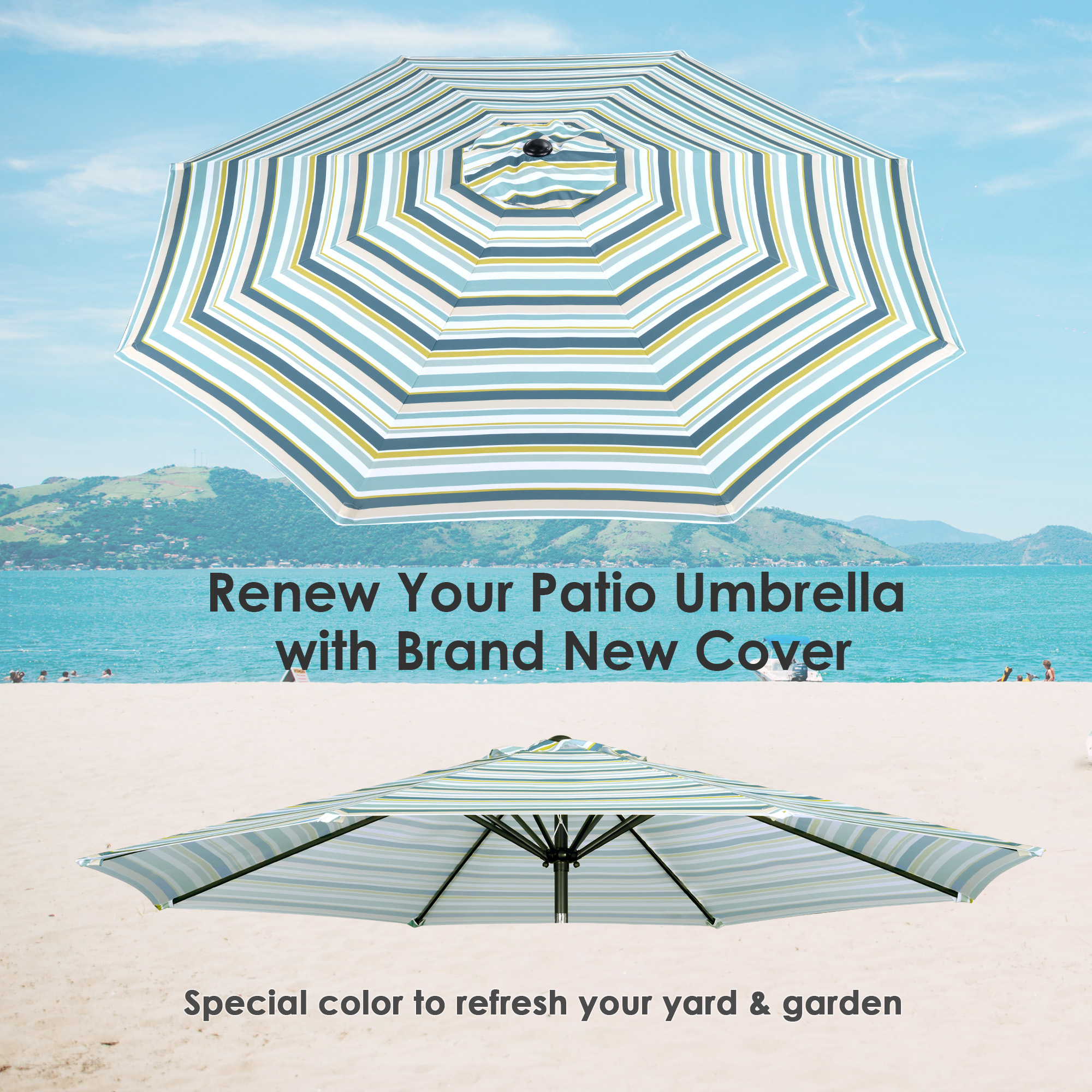 thumbnail 526 - 8'/9'/10'/13' Umbrella Replacement Canopy 8 Rib Outdoor Patio Top Cover Only Opt