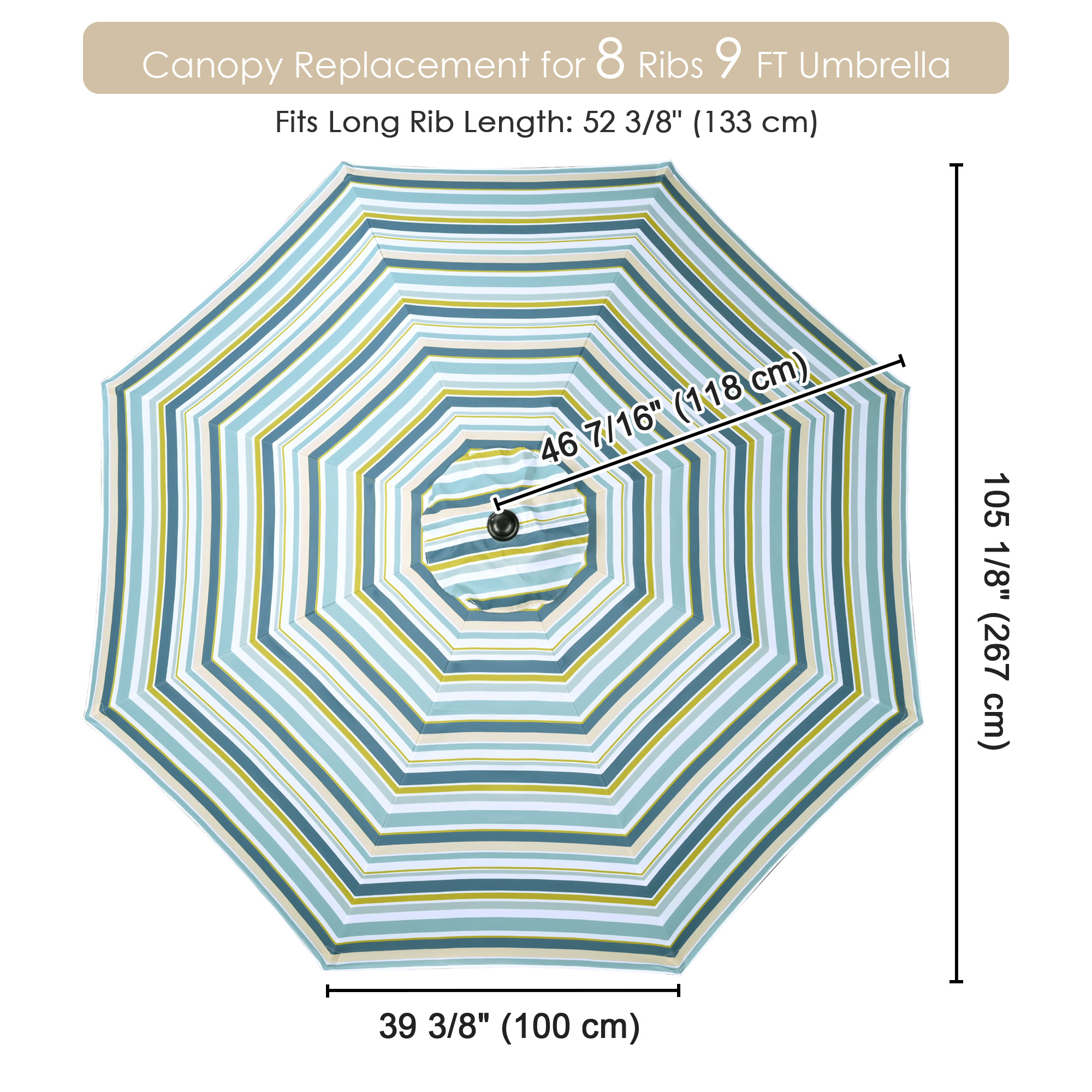 thumbnail 533 - 8'/9'/10'/13' Umbrella Replacement Canopy 8 Rib Outdoor Patio Top Cover Only Opt