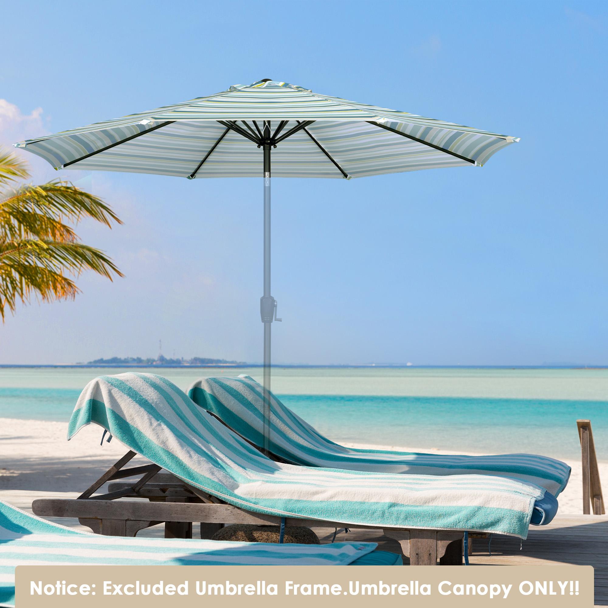thumbnail 536 - 8'/9'/10'/13' Umbrella Replacement Canopy 8 Rib Outdoor Patio Top Cover Only Opt