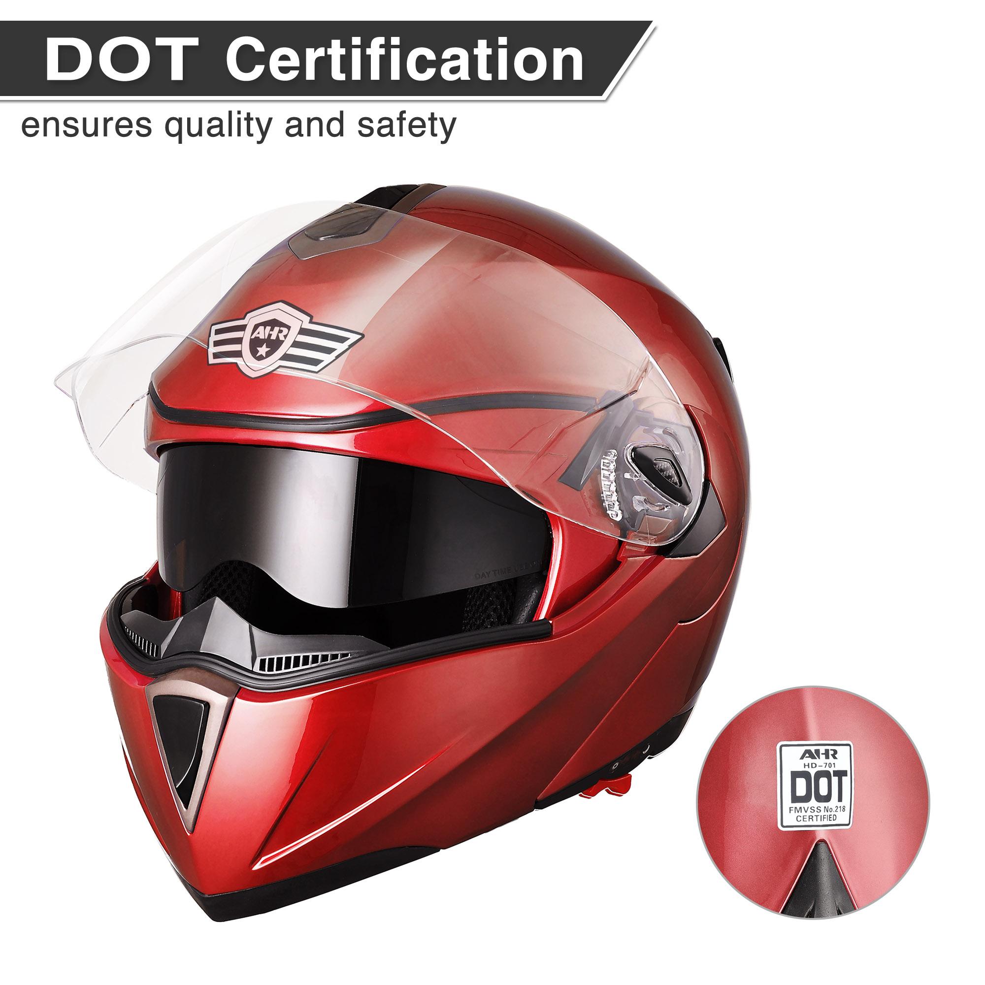 miniature 50 - DOT Flip up Modular Full Face Motorcycle Helmet Dual Visor Motocross Size Opt