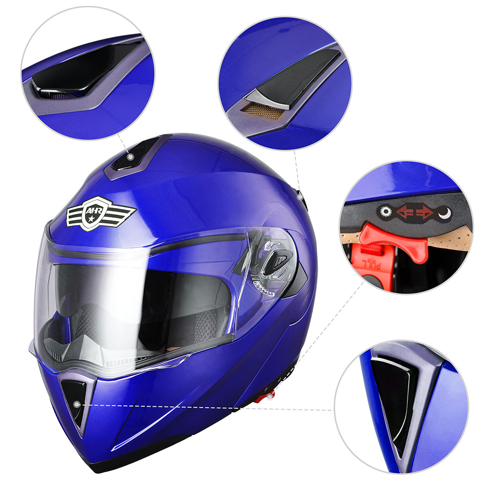 miniature 34 - DOT Flip up Modular Full Face Motorcycle Helmet Dual Visor Motocross Size Opt