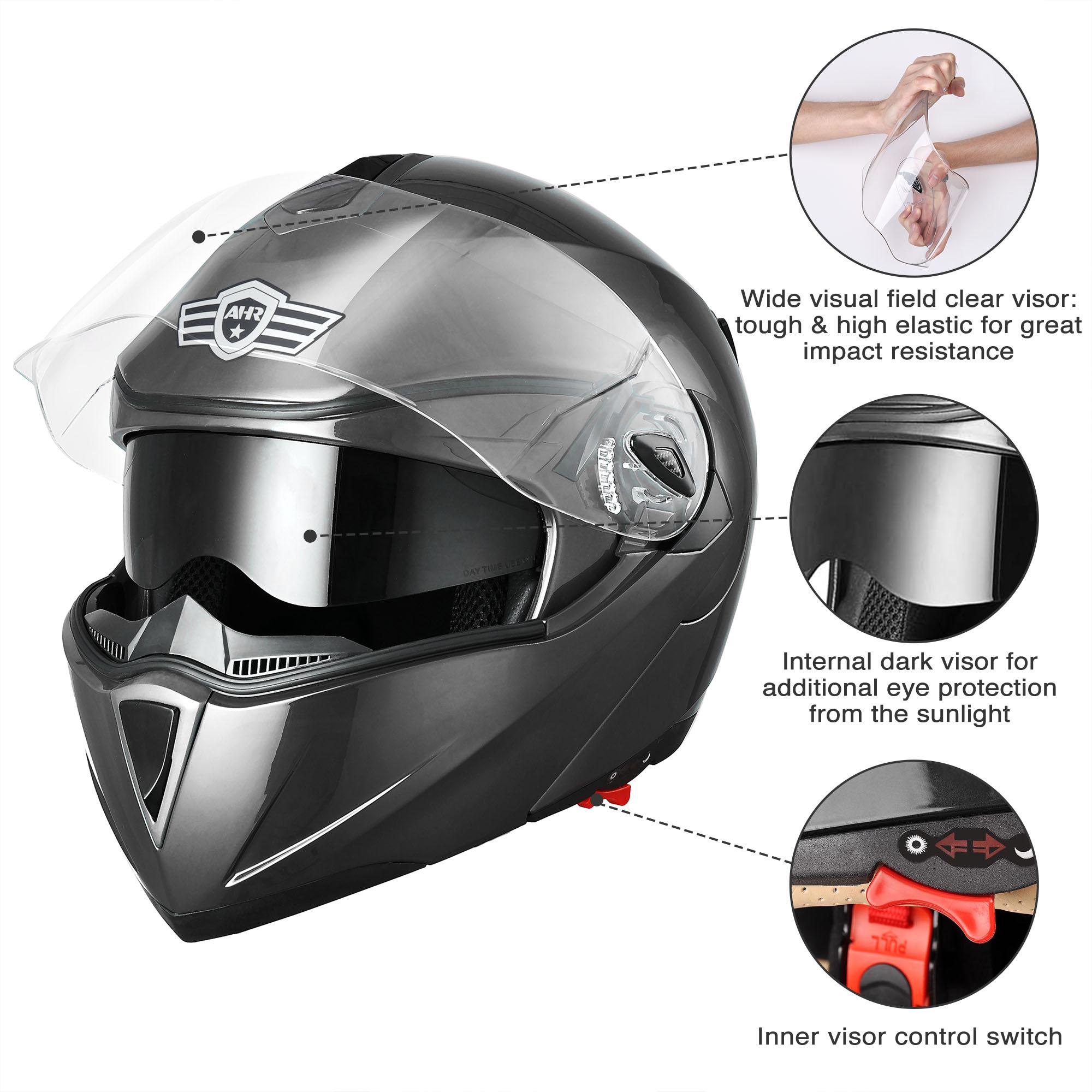 miniature 17 - DOT Flip up Modular Full Face Motorcycle Helmet Dual Visor Motocross Size Opt