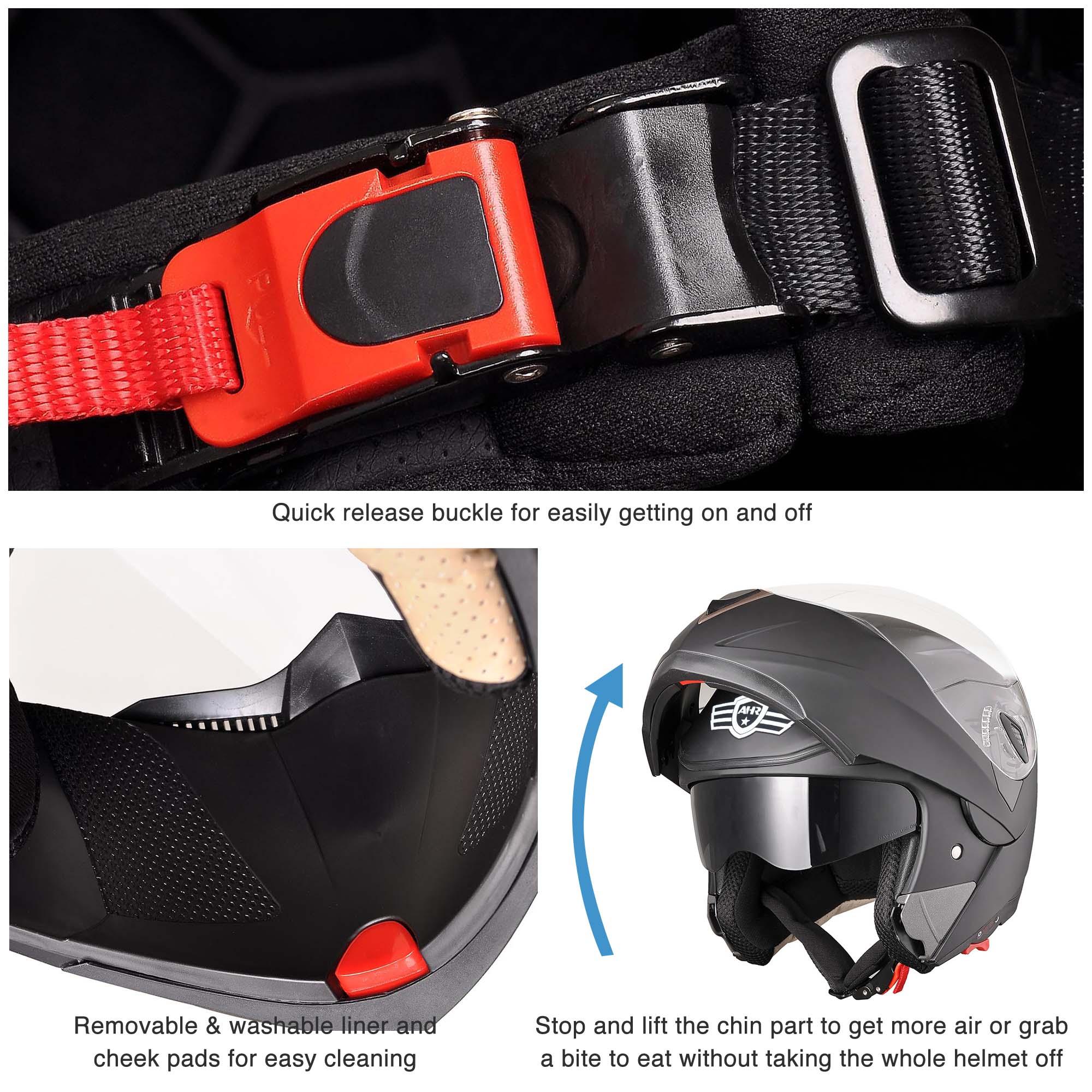miniature 42 - DOT Flip up Modular Full Face Motorcycle Helmet Dual Visor Motocross Size Opt