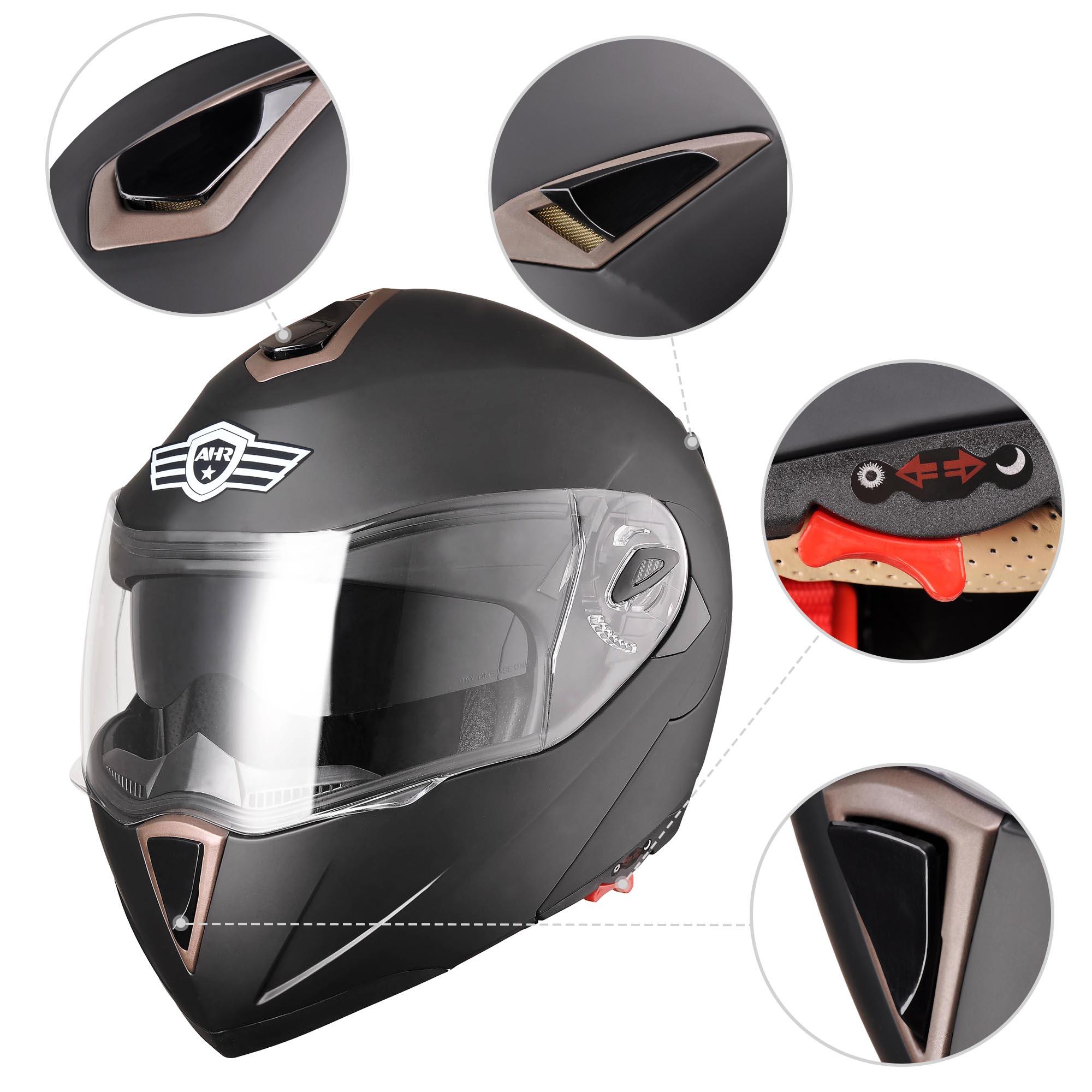 miniature 46 - DOT Flip up Modular Full Face Motorcycle Helmet Dual Visor Motocross Size Opt