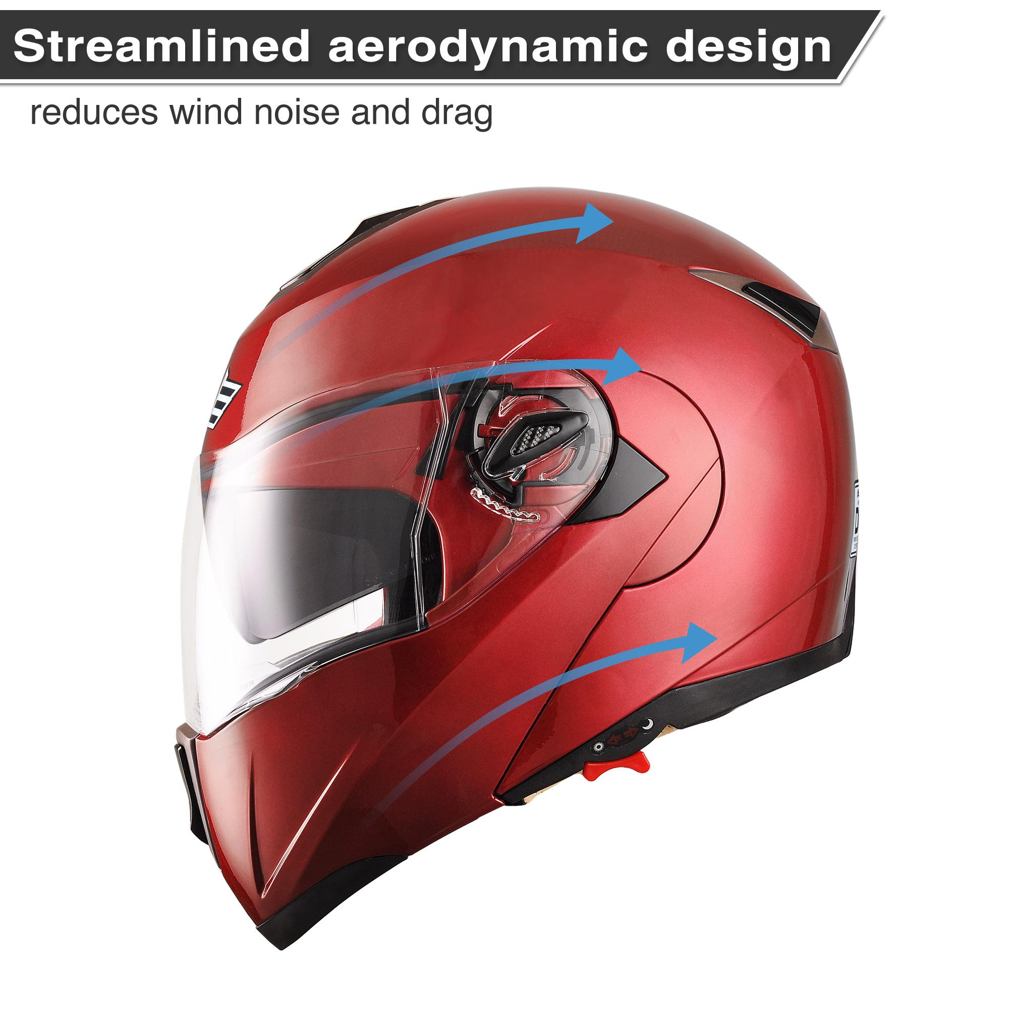 miniature 109 - DOT Flip up Modular Full Face Motorcycle Helmet Dual Visor Motocross Size Opt