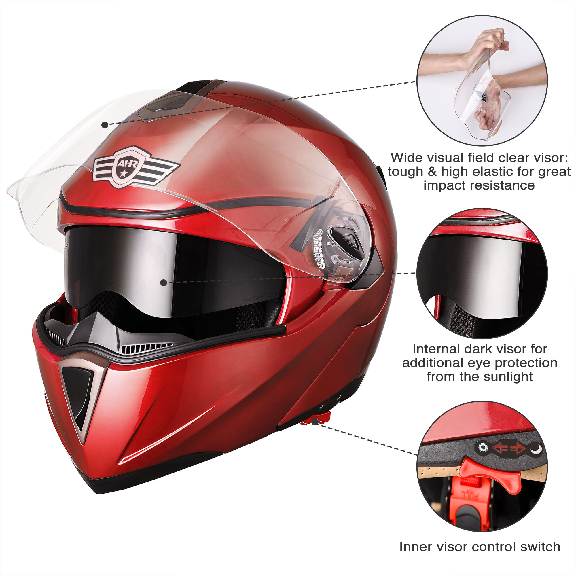 miniature 112 - DOT Flip up Modular Full Face Motorcycle Helmet Dual Visor Motocross Size Opt