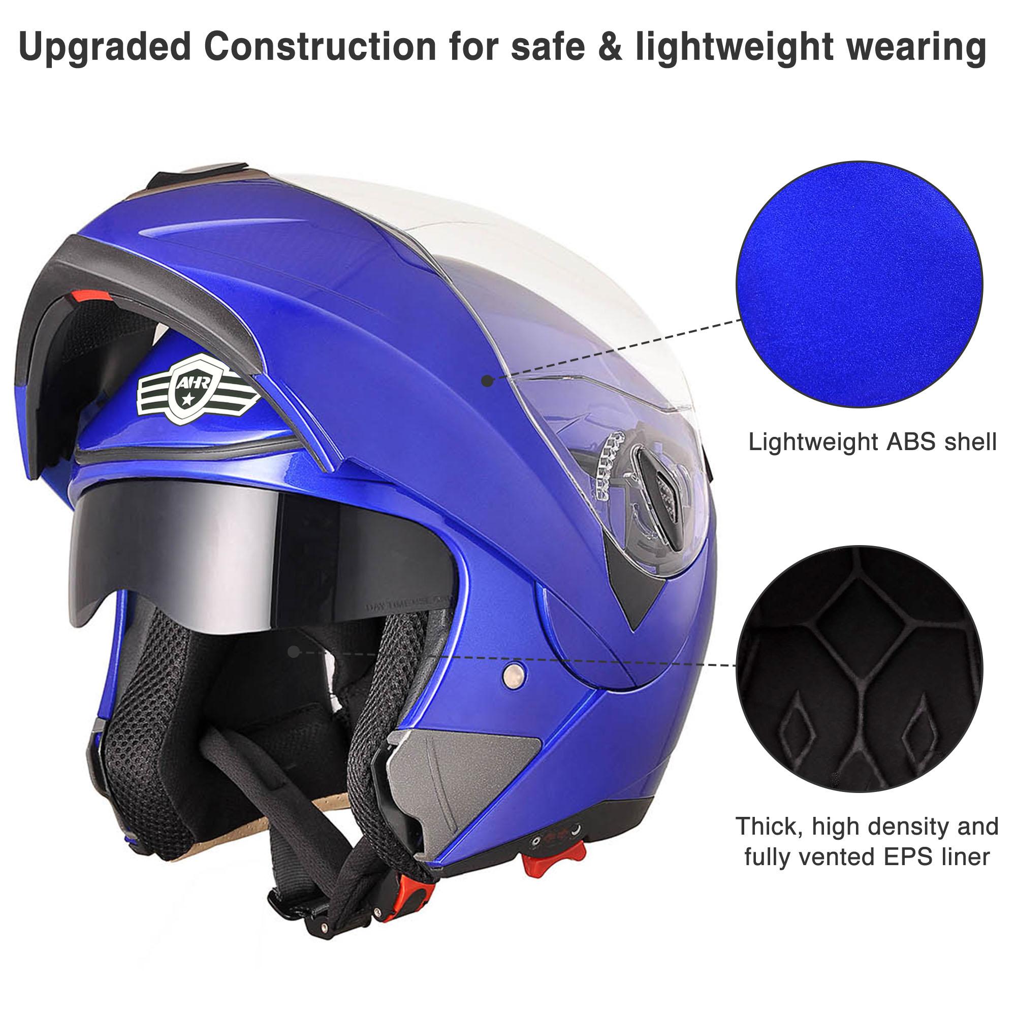 miniature 87 - DOT Flip up Modular Full Face Motorcycle Helmet Dual Visor Motocross Size Opt