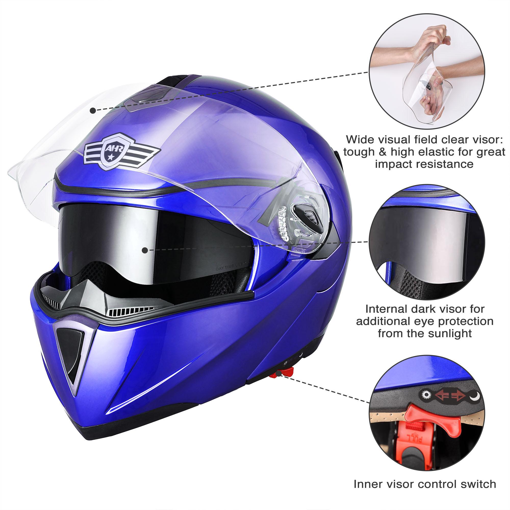 miniature 89 - DOT Flip up Modular Full Face Motorcycle Helmet Dual Visor Motocross Size Opt