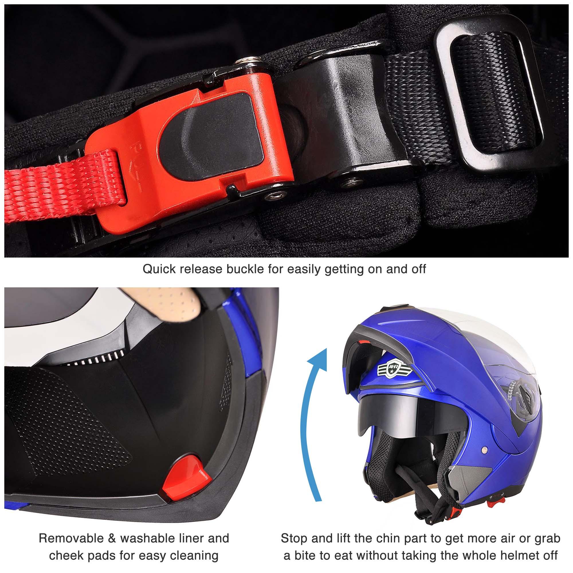 miniature 90 - DOT Flip up Modular Full Face Motorcycle Helmet Dual Visor Motocross Size Opt