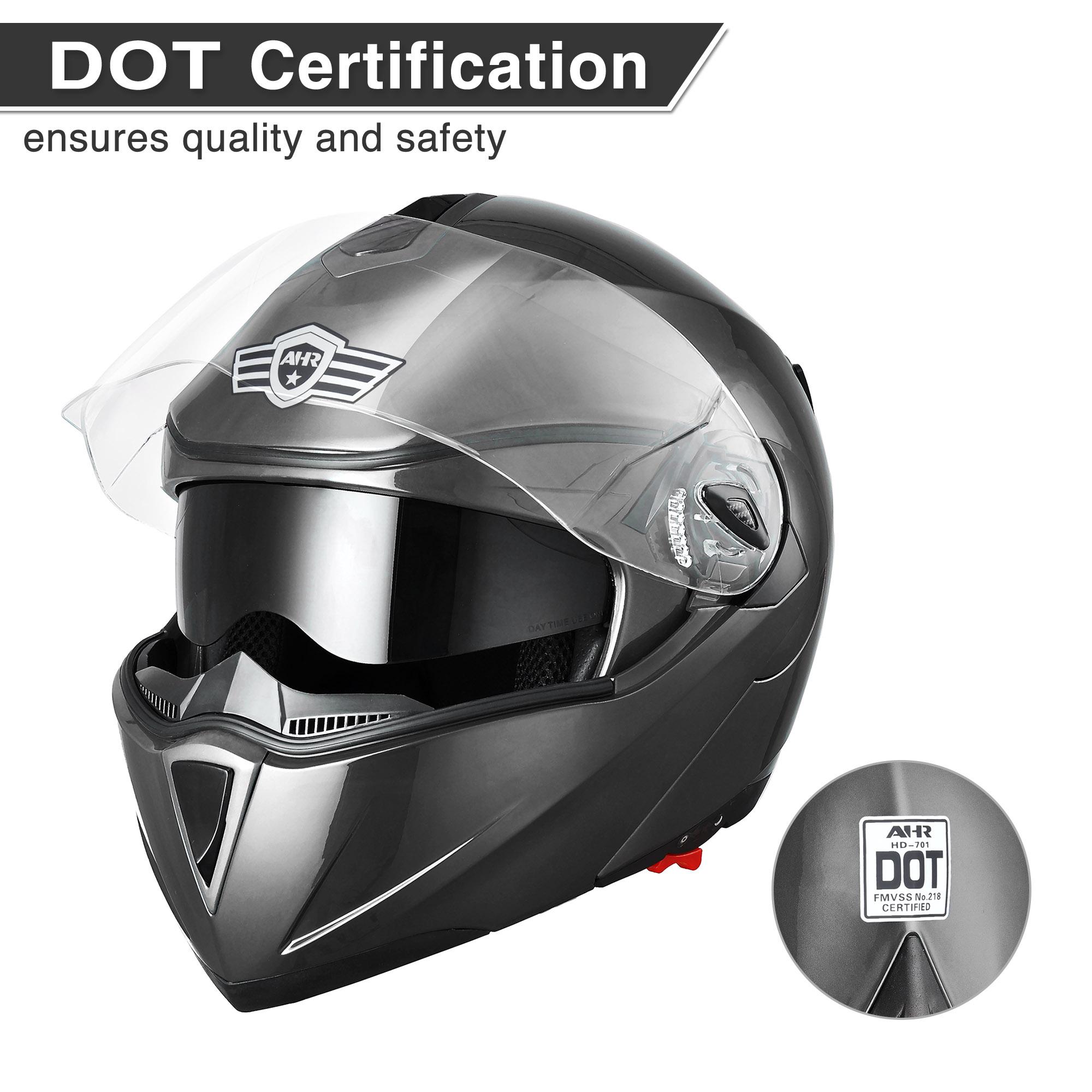 miniature 74 - DOT Flip up Modular Full Face Motorcycle Helmet Dual Visor Motocross Size Opt
