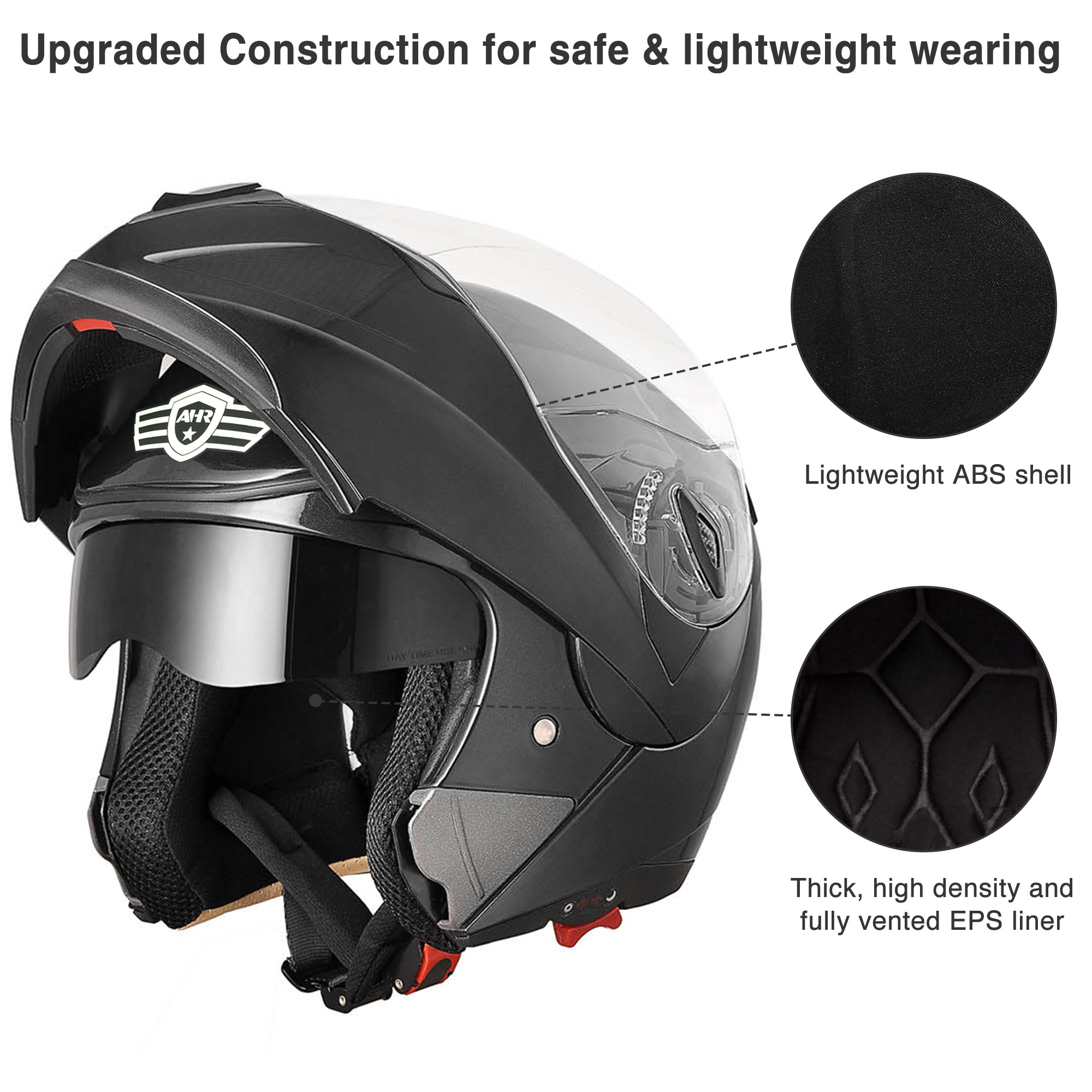 miniature 76 - DOT Flip up Modular Full Face Motorcycle Helmet Dual Visor Motocross Size Opt
