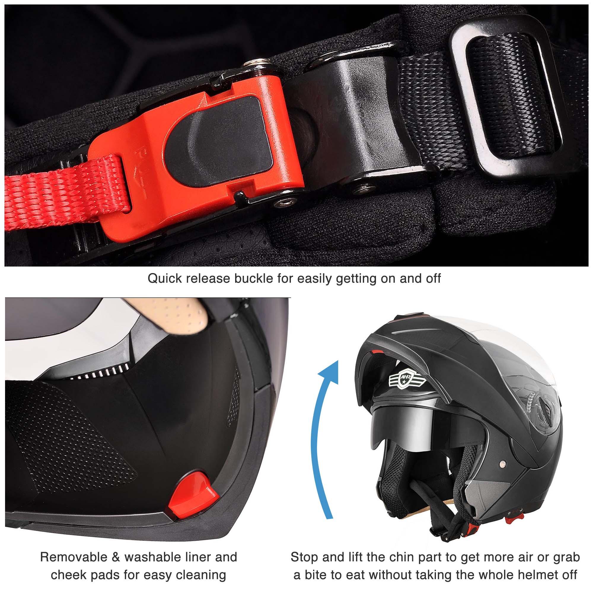 miniature 79 - DOT Flip up Modular Full Face Motorcycle Helmet Dual Visor Motocross Size Opt