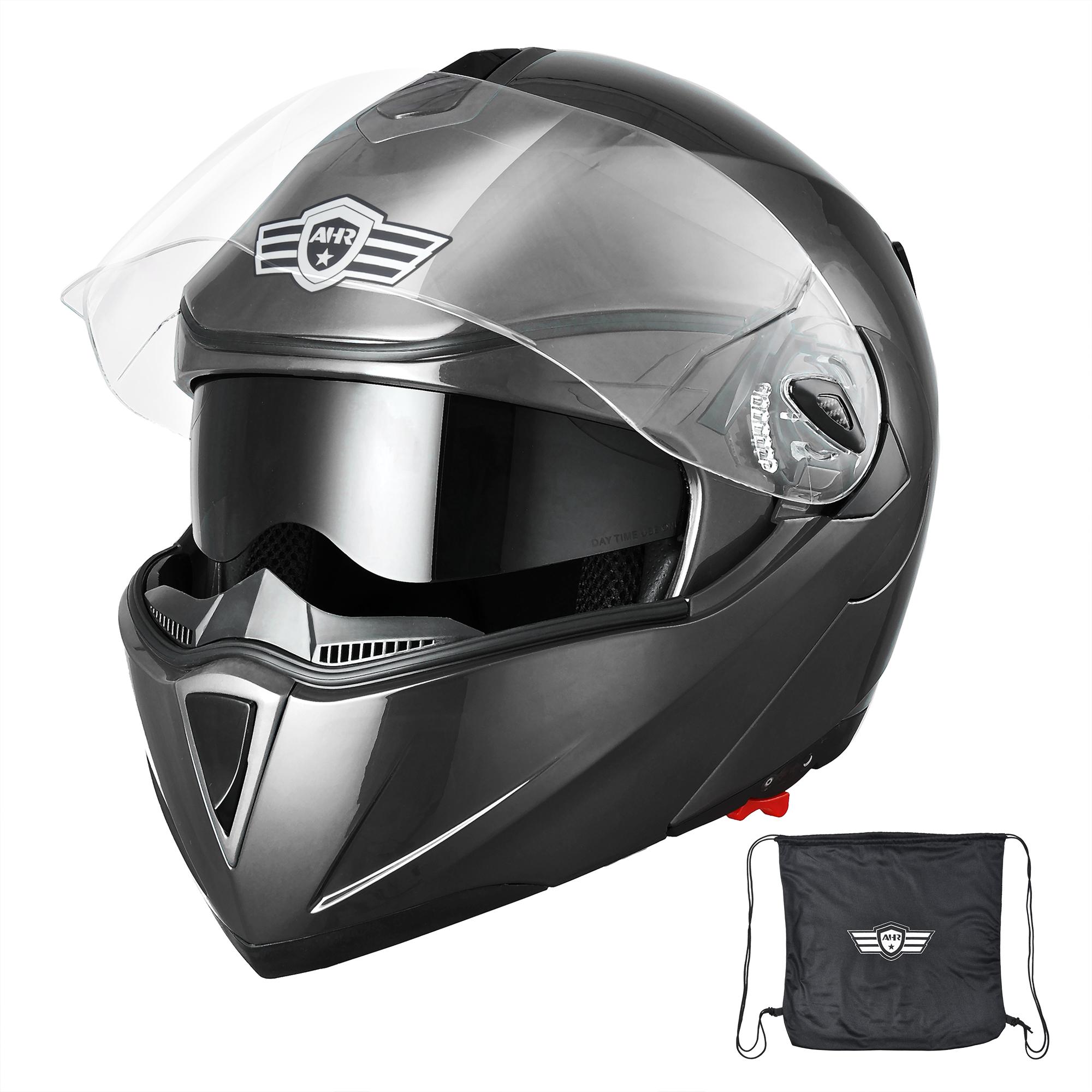 miniature 81 - DOT Flip up Modular Full Face Motorcycle Helmet Dual Visor Motocross Size Opt