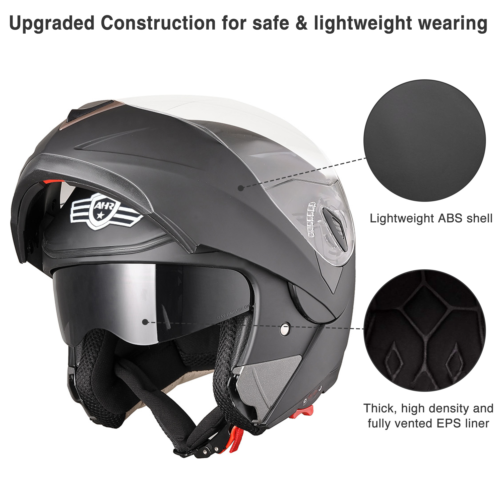 miniature 97 - DOT Flip up Modular Full Face Motorcycle Helmet Dual Visor Motocross Size Opt