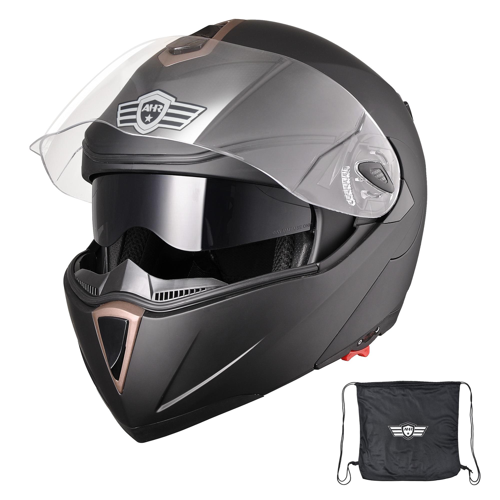miniature 102 - DOT Flip up Modular Full Face Motorcycle Helmet Dual Visor Motocross Size Opt
