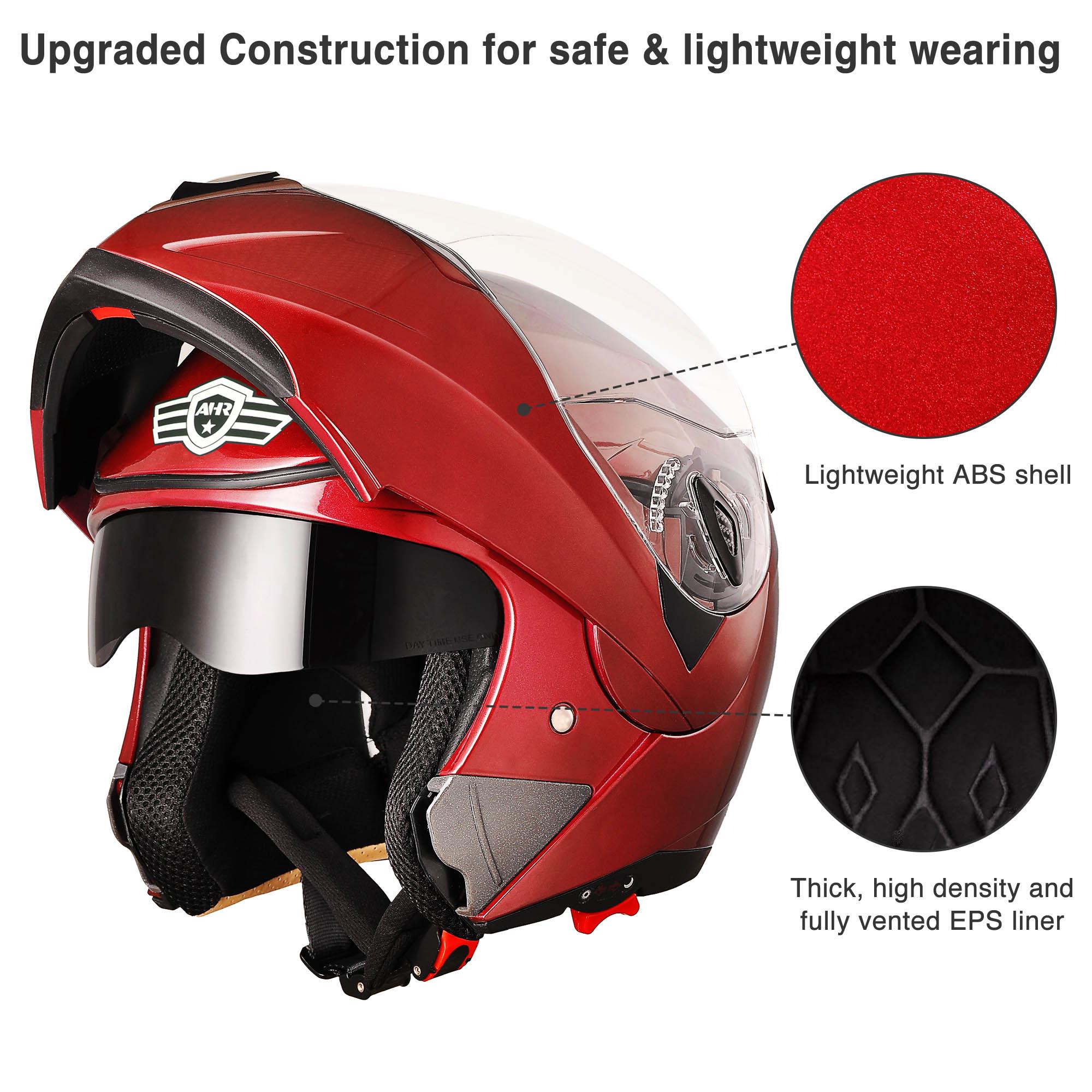 miniature 165 - DOT Flip up Modular Full Face Motorcycle Helmet Dual Visor Motocross Size Opt